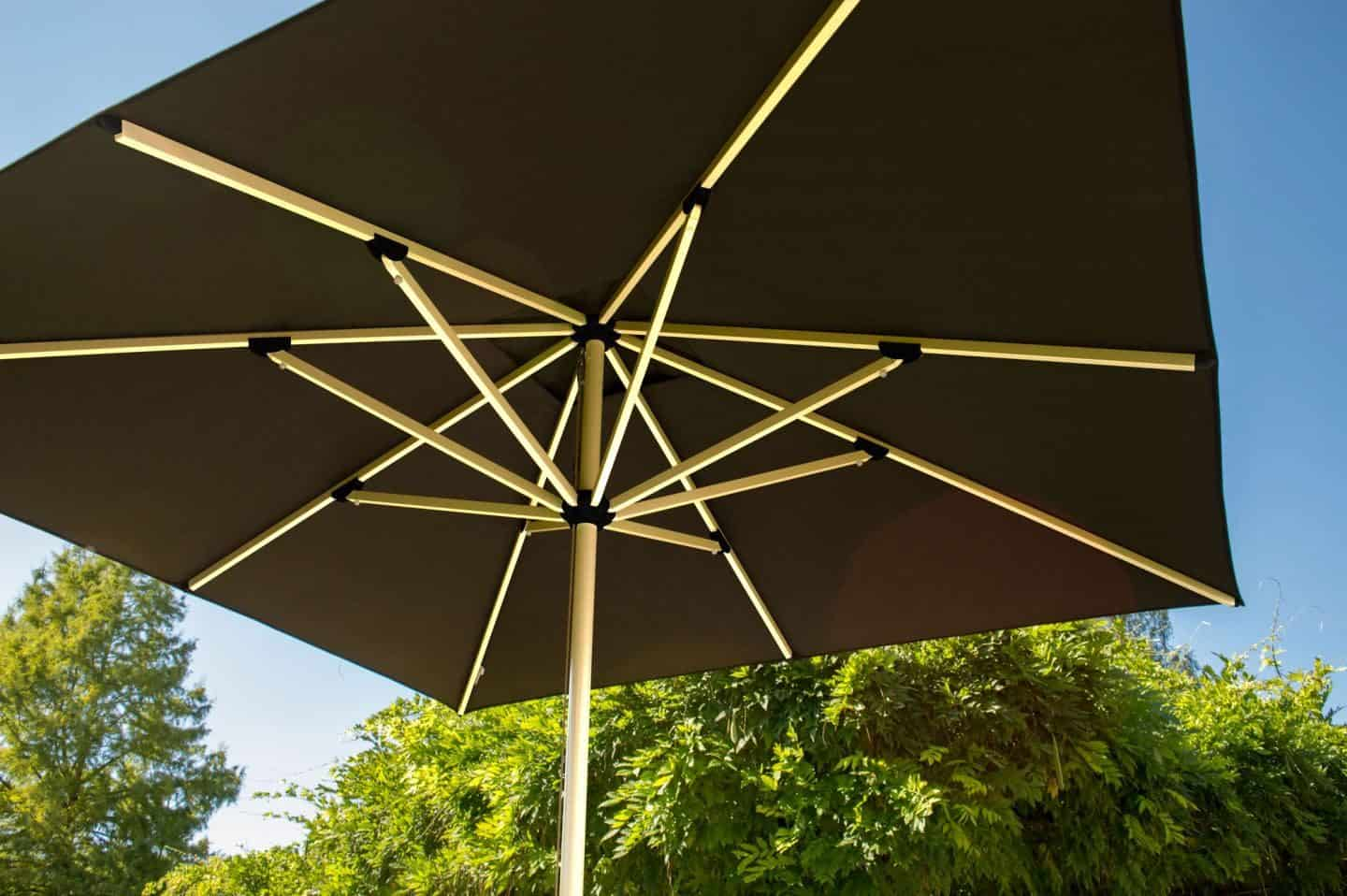 Garden Parasol from Solero Parasols.  The view of the spokes beneath the parasol.