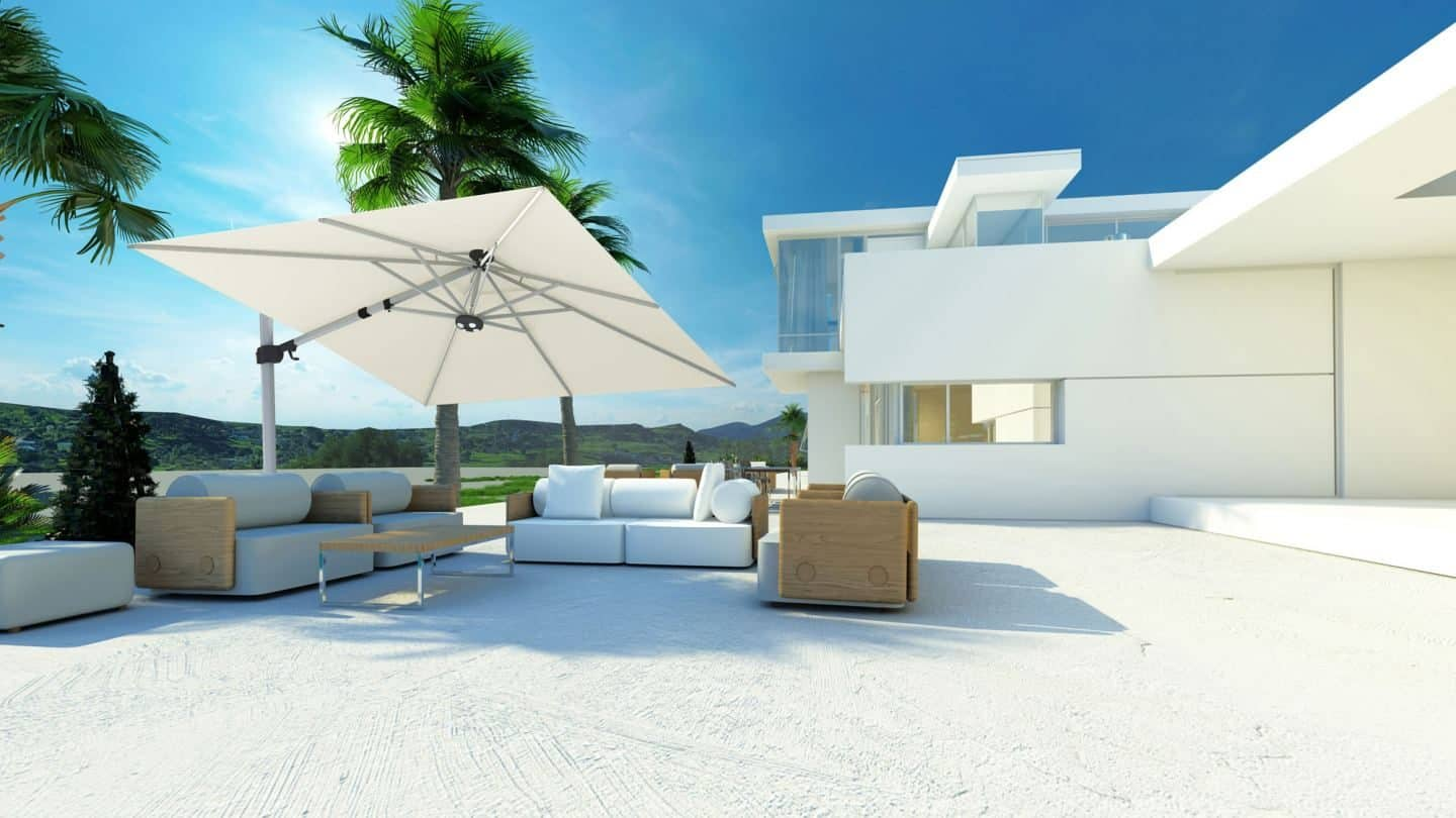 Garden Parasol from Solero Parasols.  Large white square parasol angled above outdoor sofas