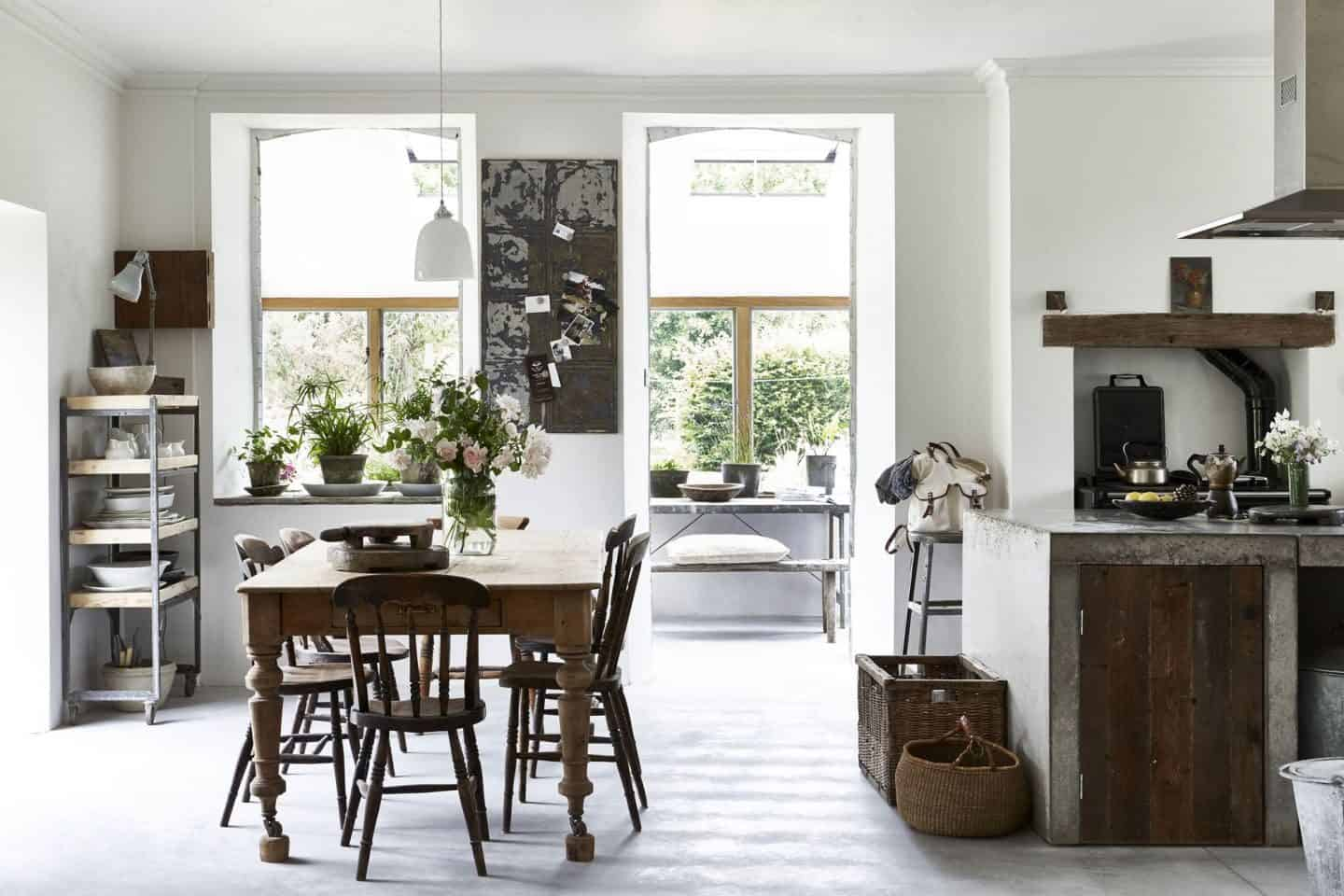Natural Living Style by Selina Lake. An industrial-style kitchen featuring metal, concrete and rustic worn wood.