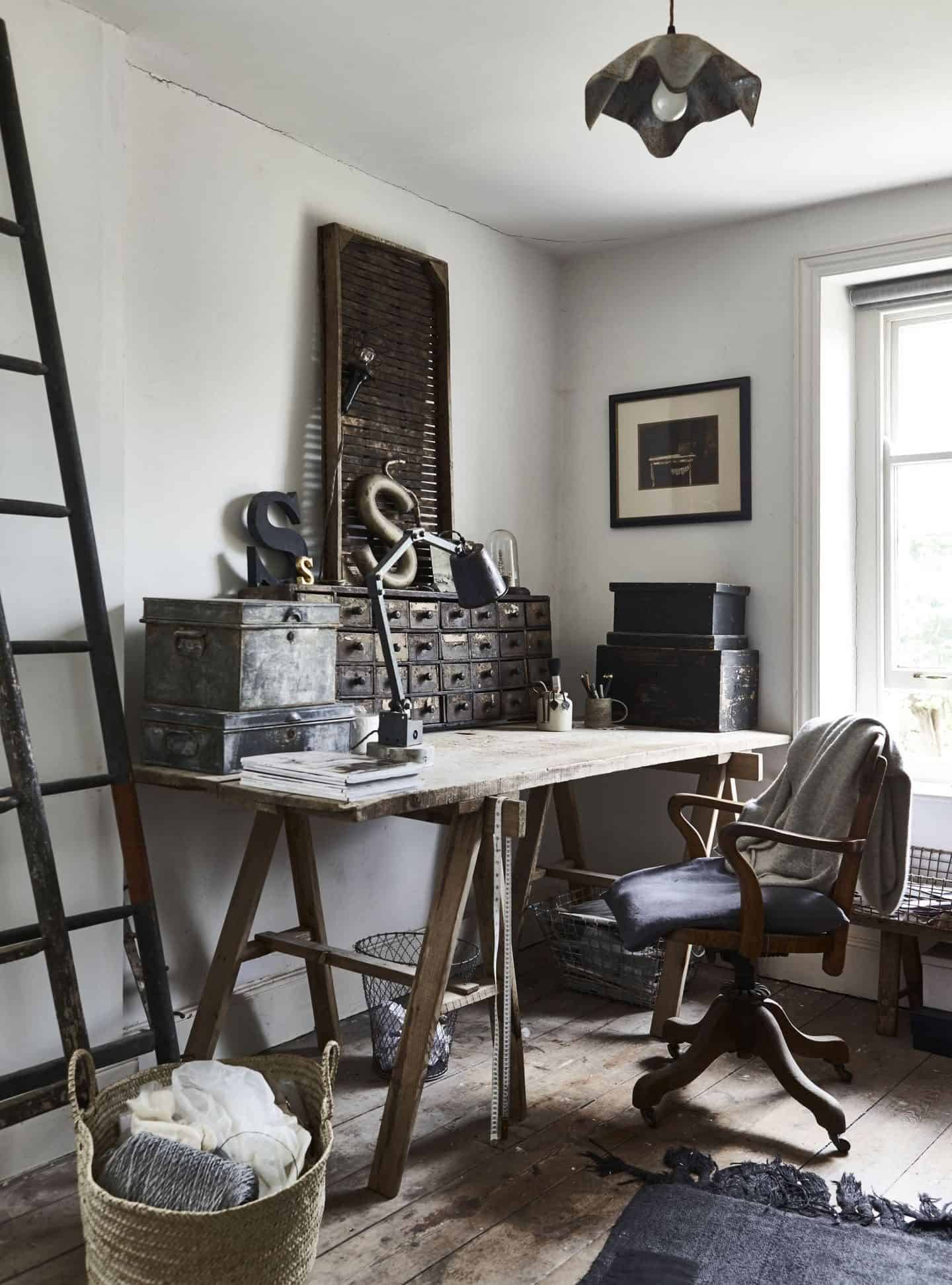 Natural Living Style by Selina Lake. An industrial style office featuring a trestle table, metals storage boxes, large typographic decorative items and an old wooden chair.