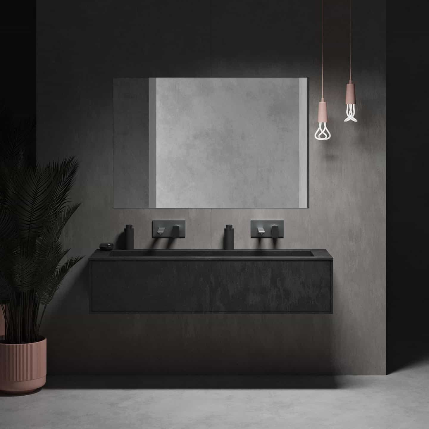 New Coloured Corian Bathroom Collection from Riluxa. Double wallhung corian bathroom basin with mirror over.