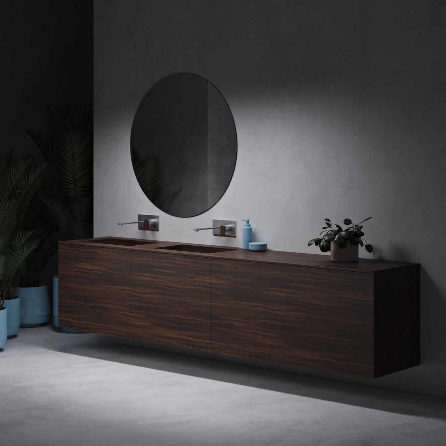 New Coloured Corian Bathroom Collection from Riluxa. Wood effect corin bathroom basin with wall-mounted tap above.
