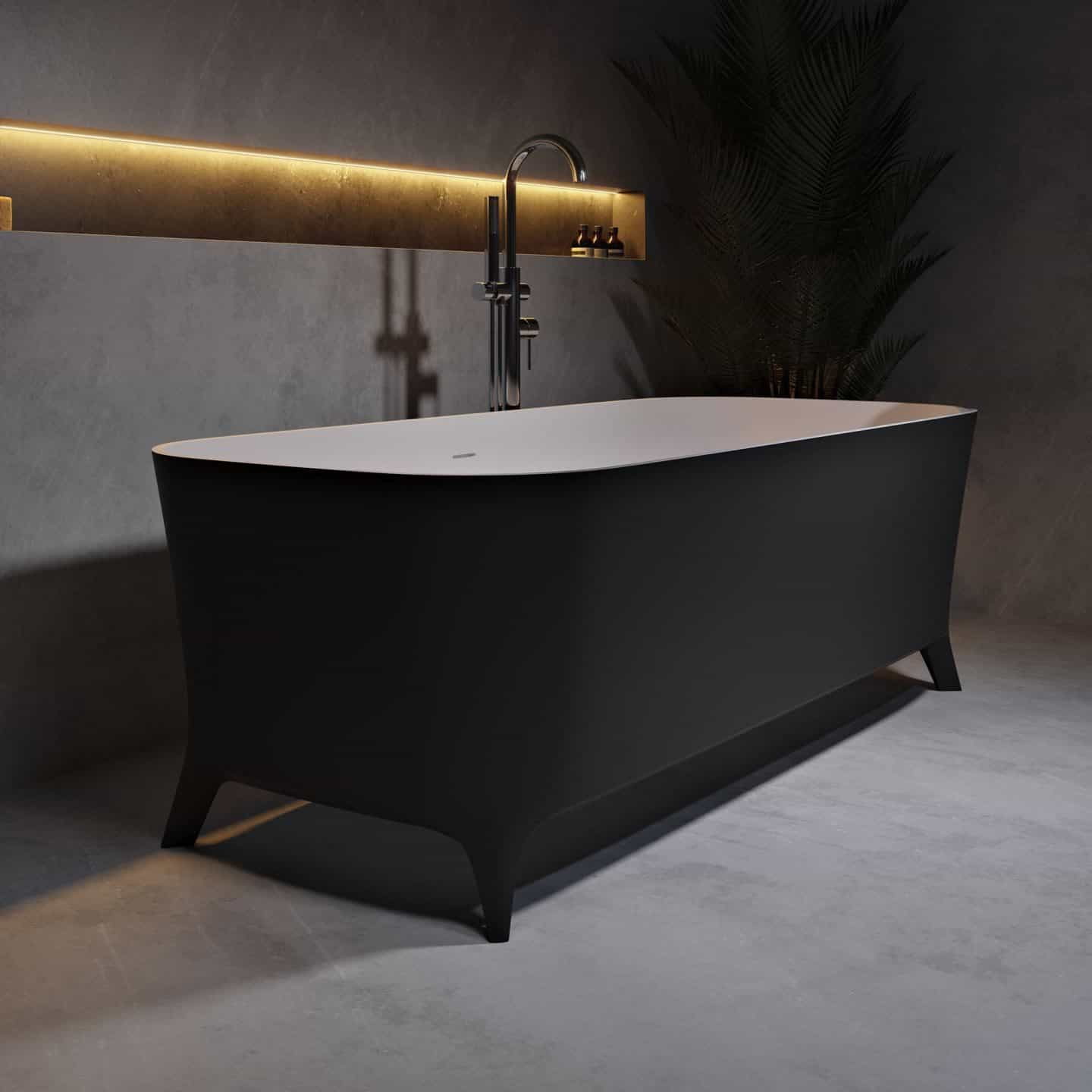 Lofty Black - Freestanding Solid Surface Bathtub from Riluxa