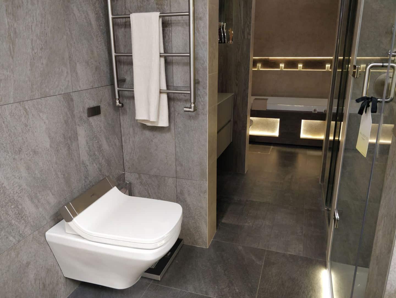 A Duravit SensoWash shower toilet on display inside premium bathroom showroom, The Showroom Ltd