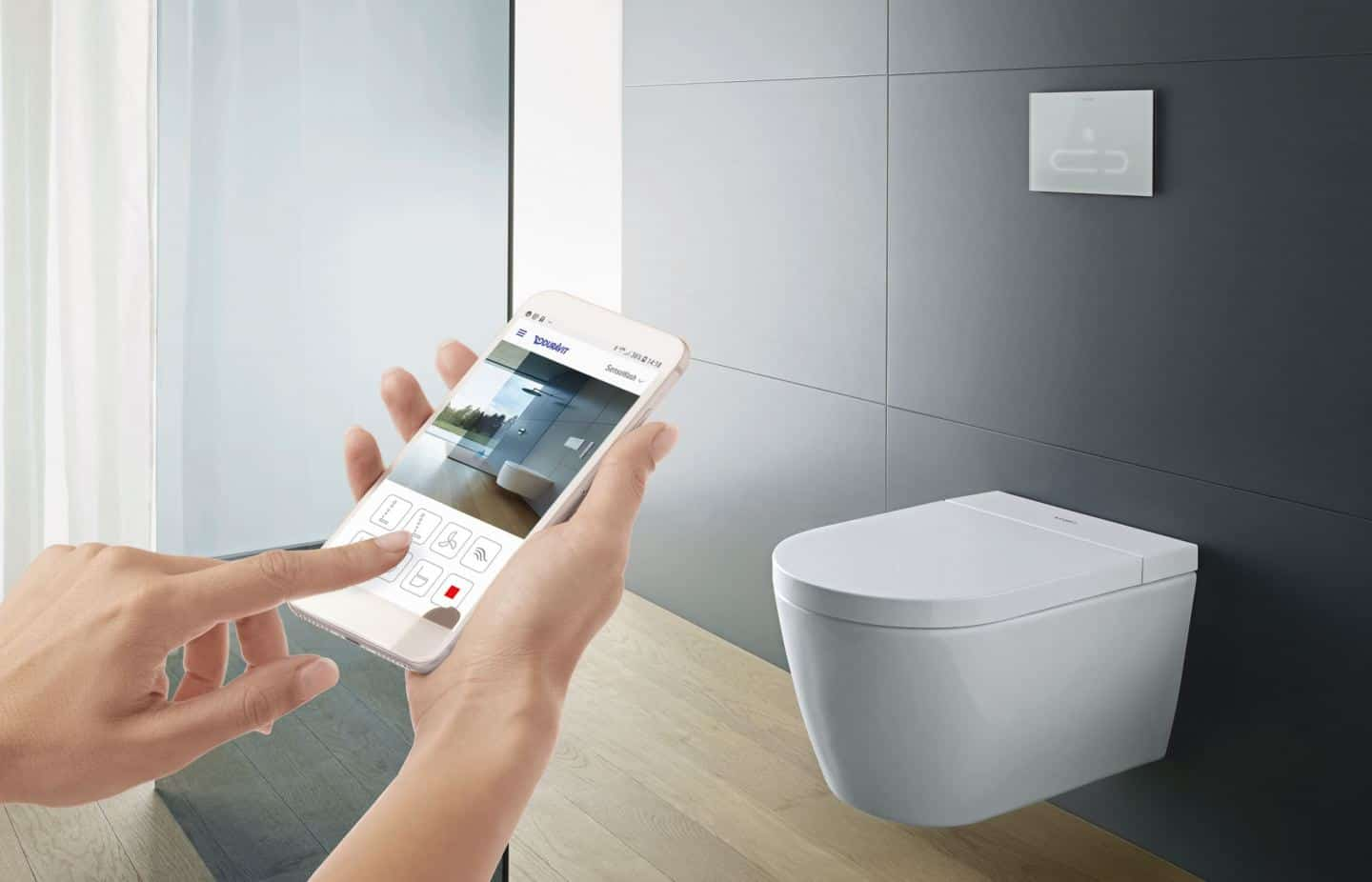 Duravit SensoWash Stark f shower toilet can be operated by remote or via an app for increased hygiene in the bathroom