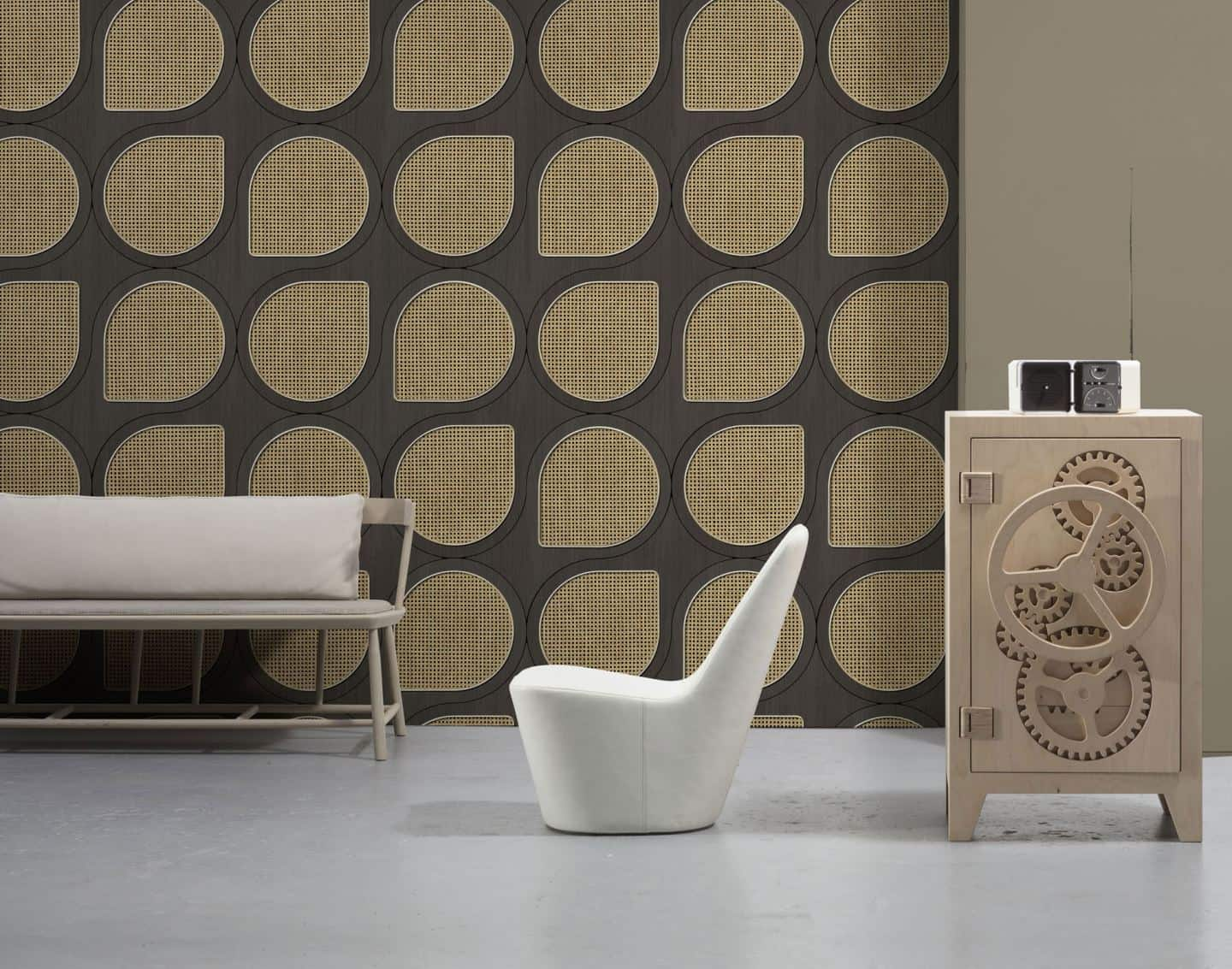 Drops cane webbing wallpaper used in to create a statement wall