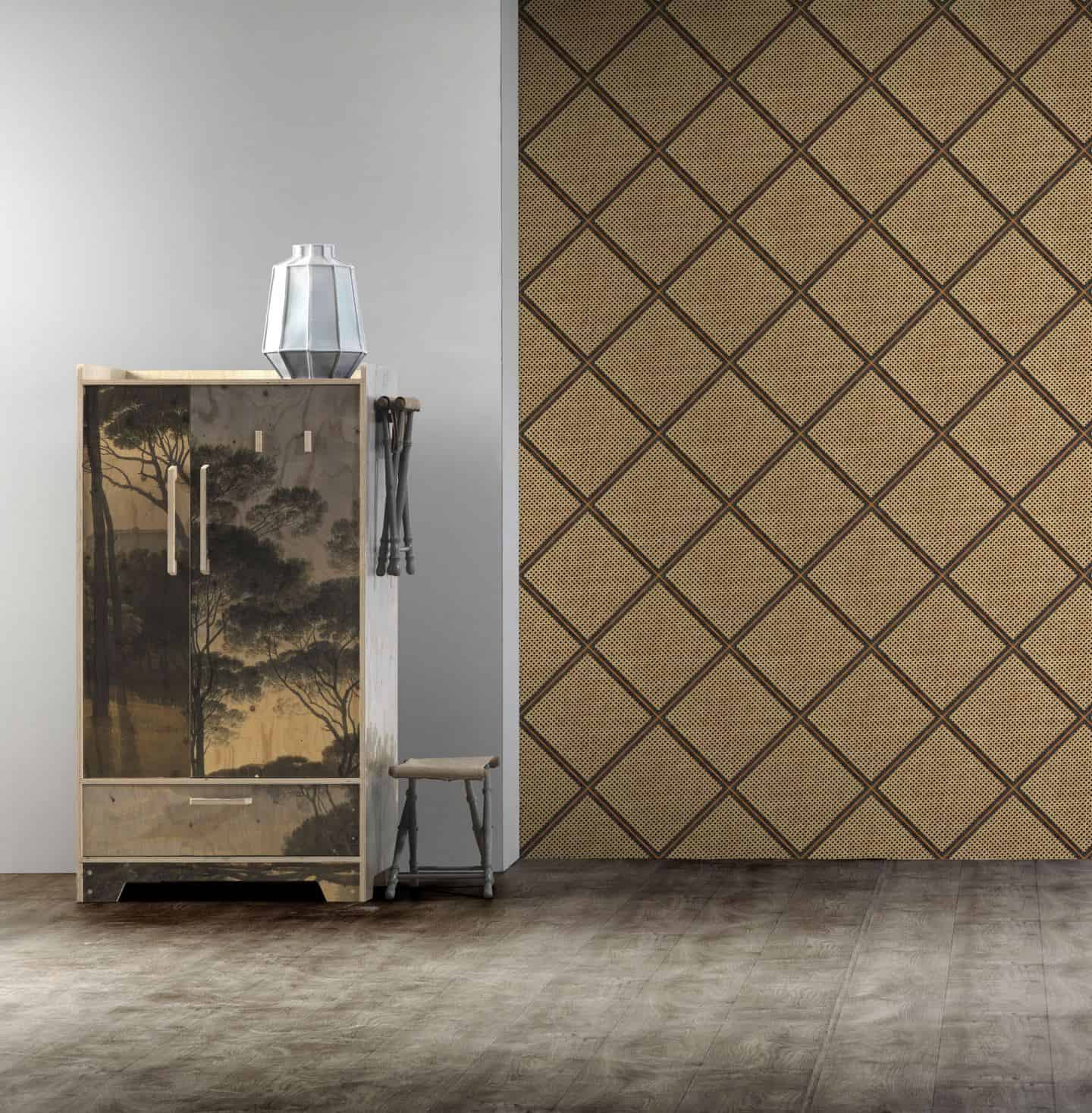 Diamond Cane Webbing Wallpaper from NLXL creates a statement wall