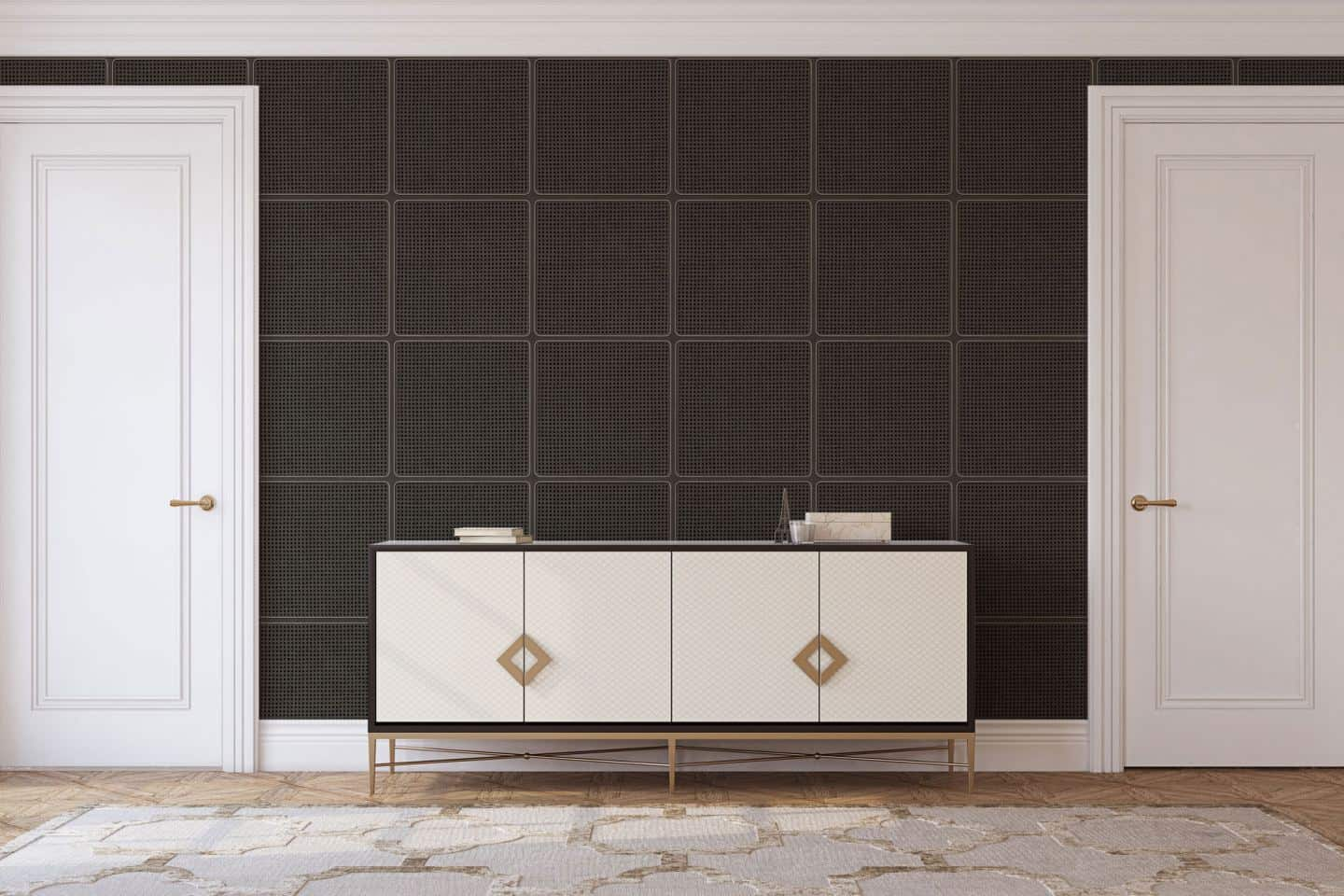 Black cane webbing wallpaper from NLXL used as a statement wall behind a sideboard