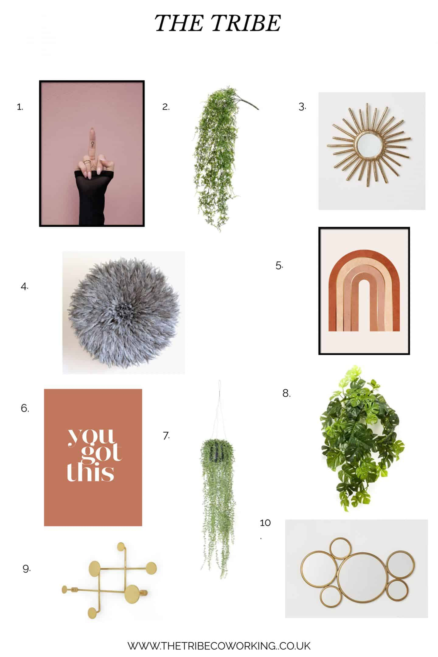 A moodboard for a coworking space for female entrepreneurs