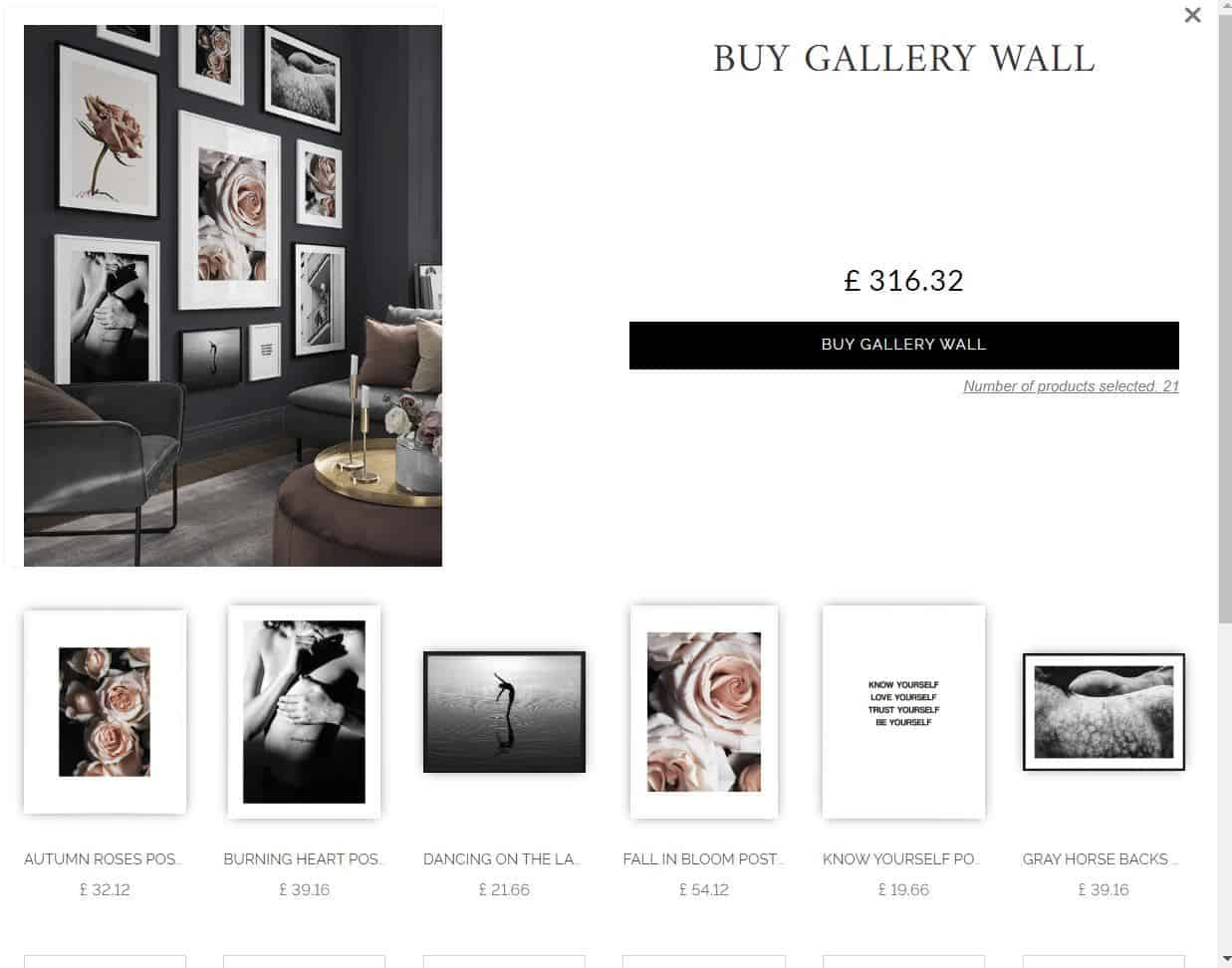 A screen shot of the Desenio website showing artwork in a gallery wall