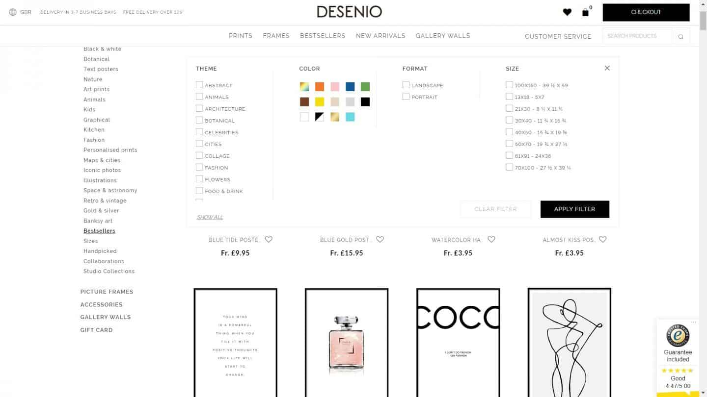 A screen shot of the Desenio website showing how to filter the artwork