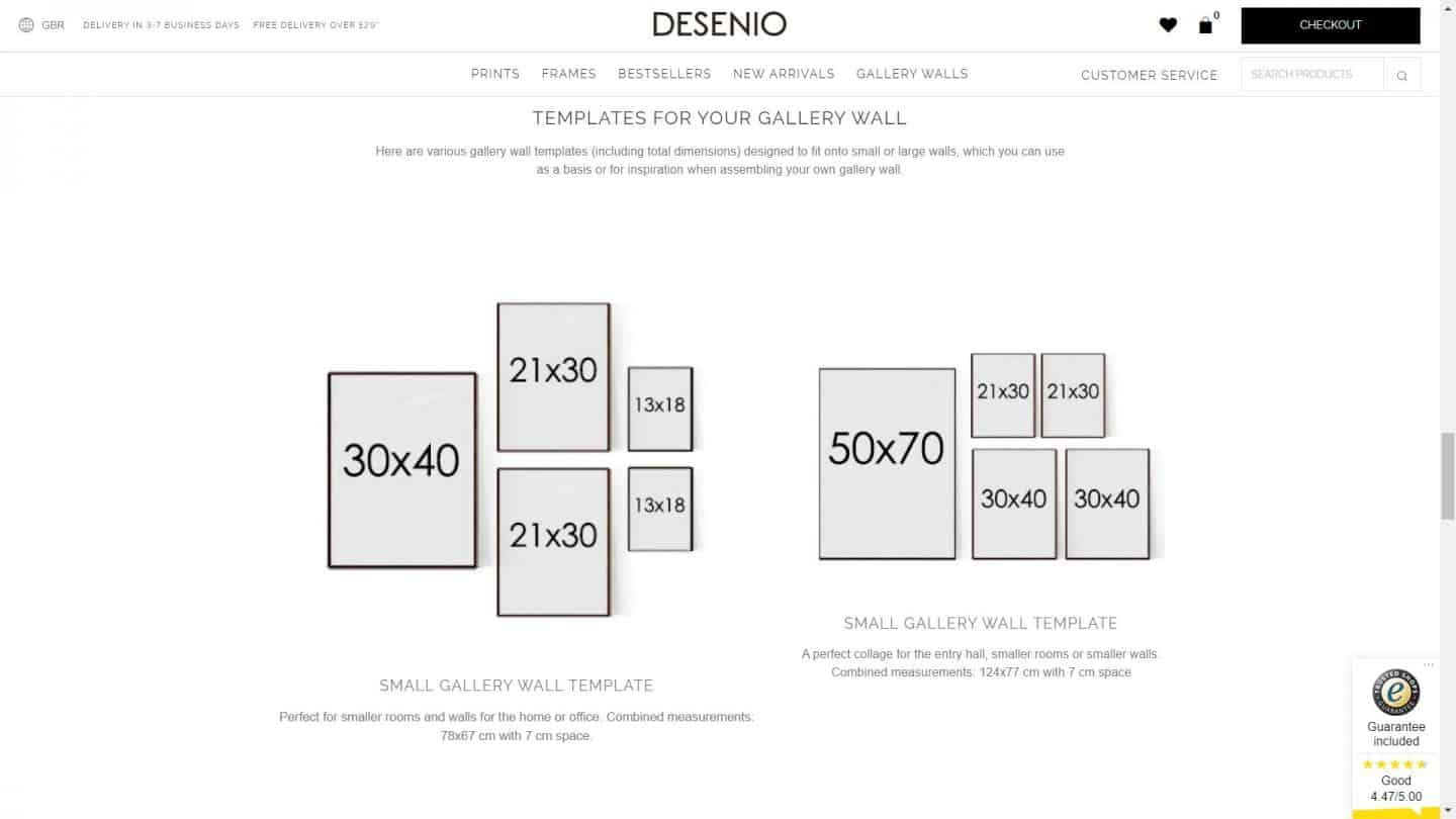 A screen shot of the Desenio website showing templates for a gallery wall