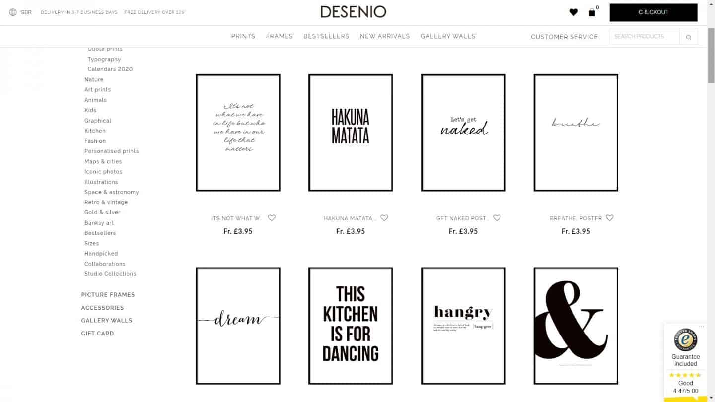 A screen shot of the Desenio website showing artwork for an office space