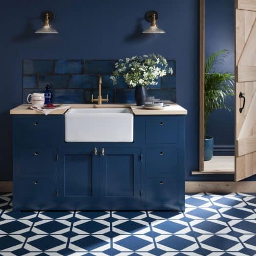 Dovetail Oxford Flooring from Harvey Maria in a kitchen in the Pantone Colour of the Year 2020 Classic Blue