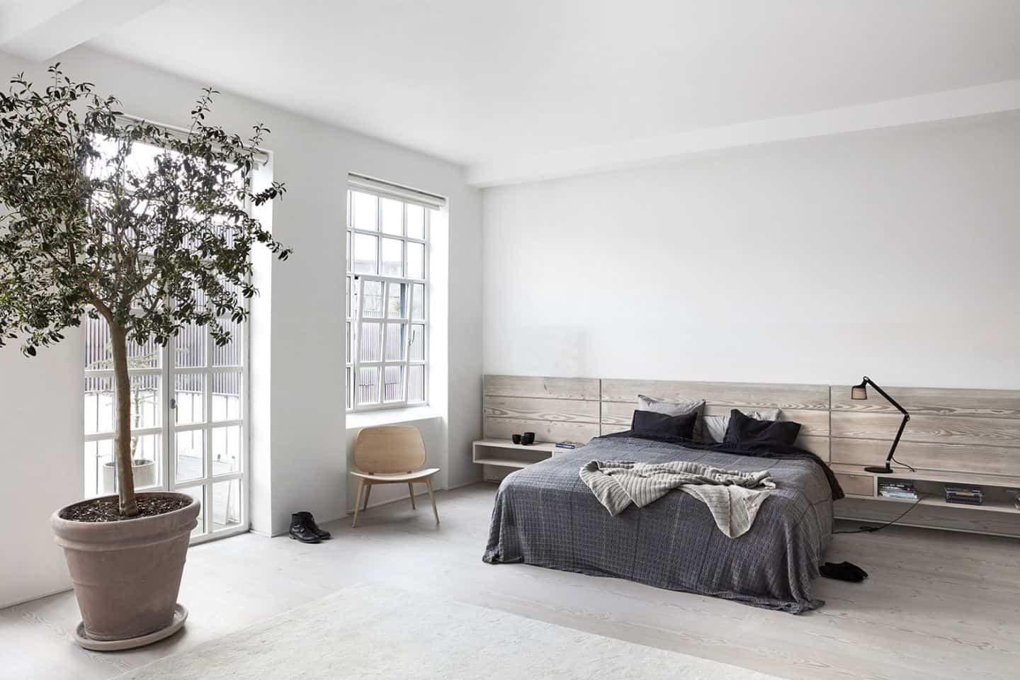 Bedroom of Vipp Owner Jette Egelund in her converted factory home