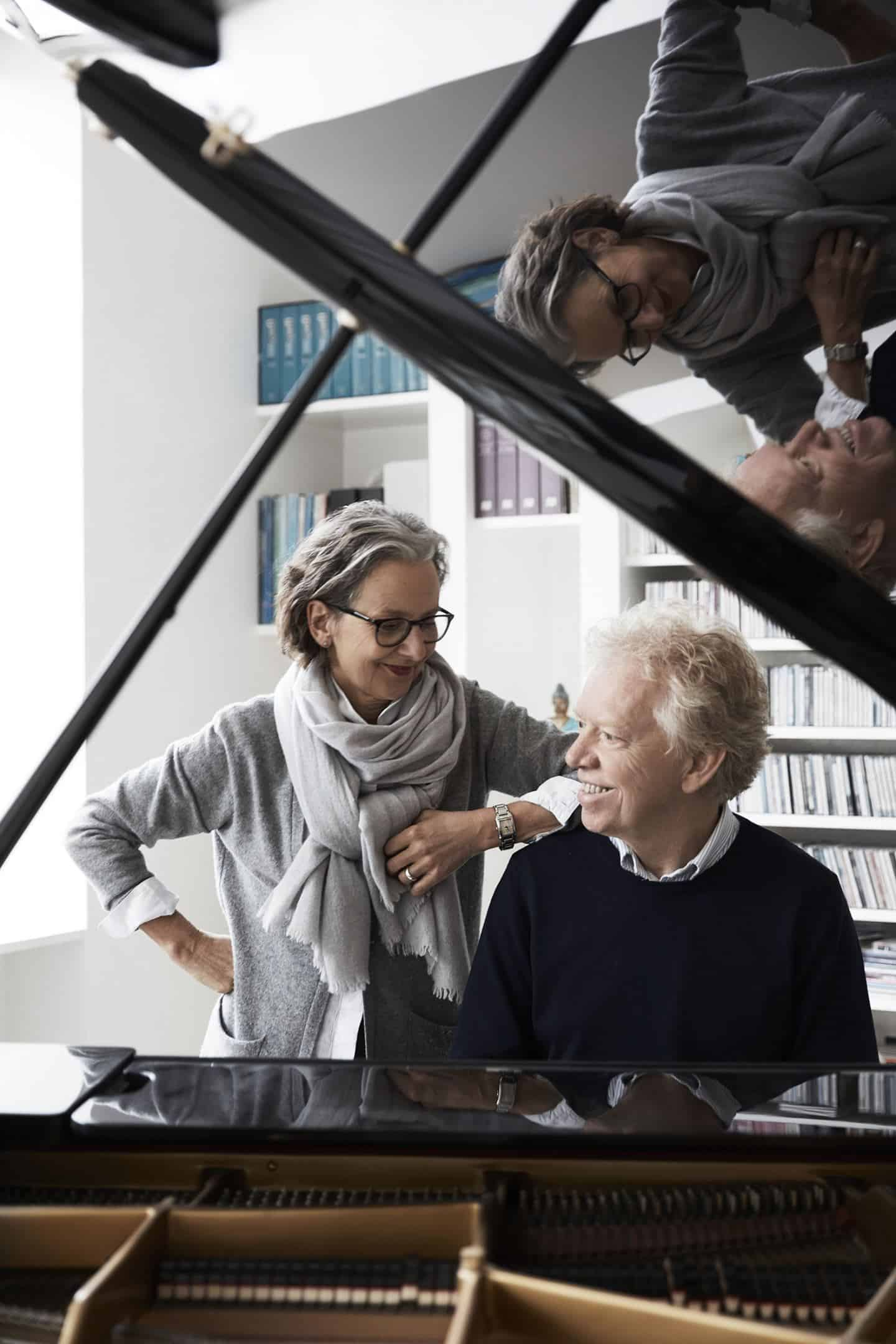 Vipp owner Jette Egelung and her husband Mogens Dahl at a concert piano in their converted factory home