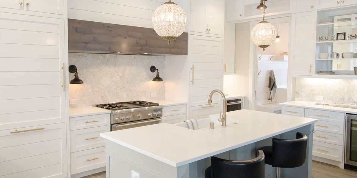 Matter designs contemporaty white kitchen with a coastal feel.