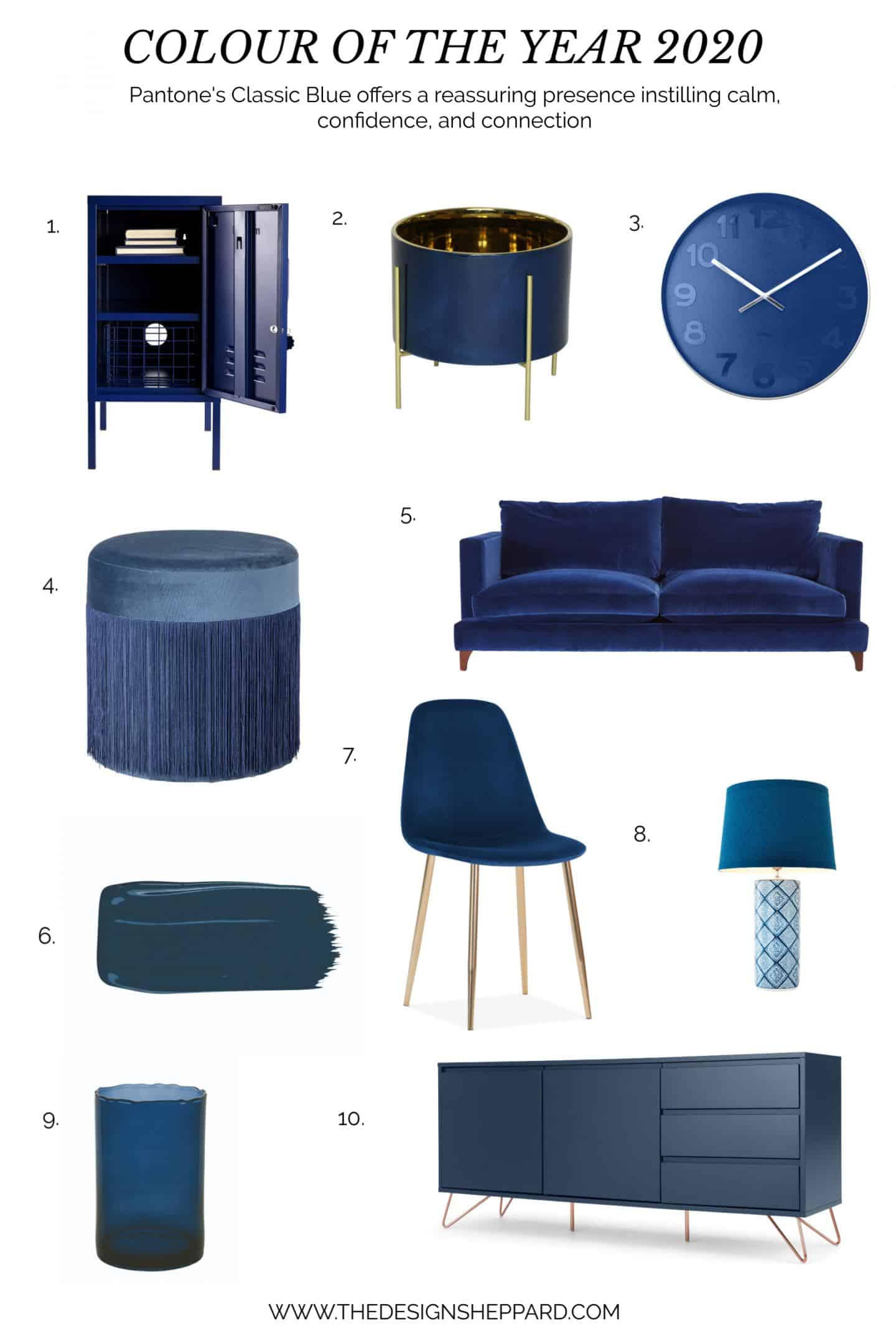 Homeware products in Pantone Colour of the Year 2020 Classic Blue