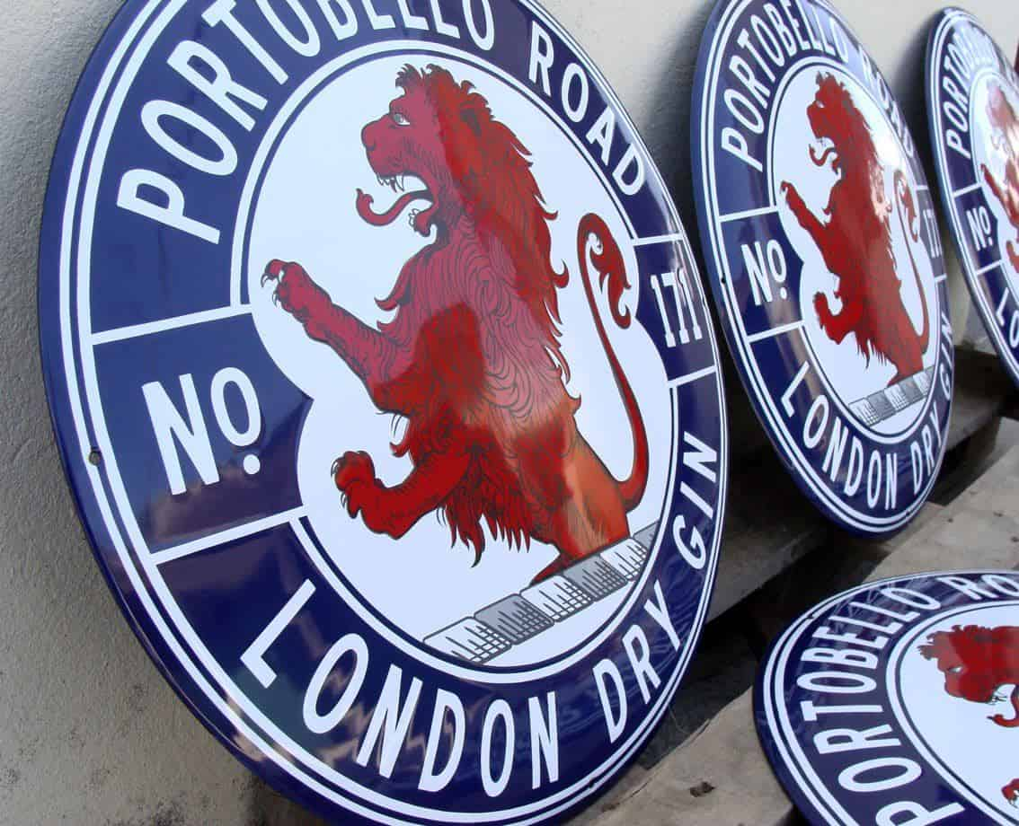 Enamel signs by Ramsign for London Dry Gin