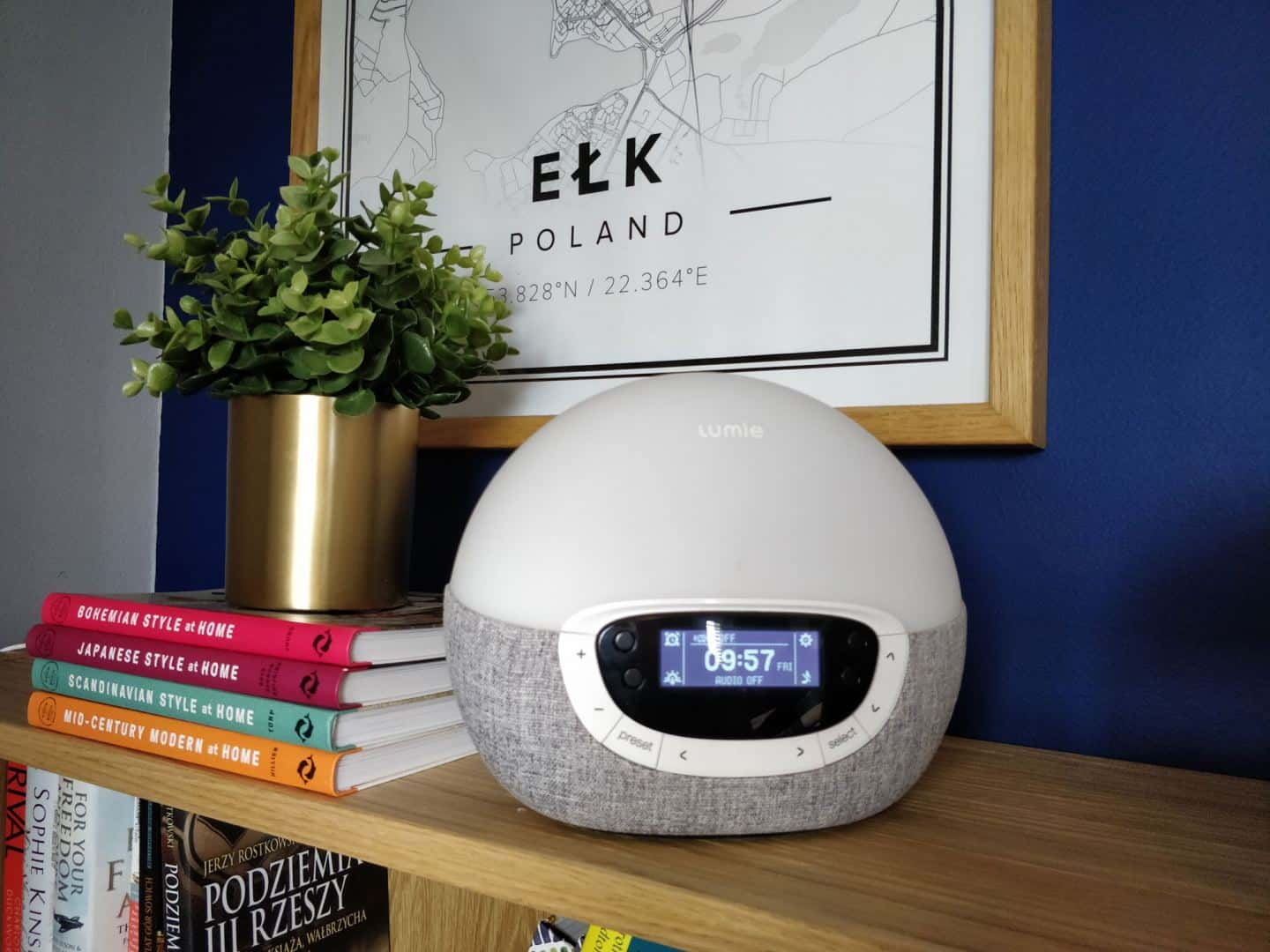 World Sleep Day 2020-5 Ways to Improve your Sleep. A Lumie Wake-up light alarm clock on a shelf