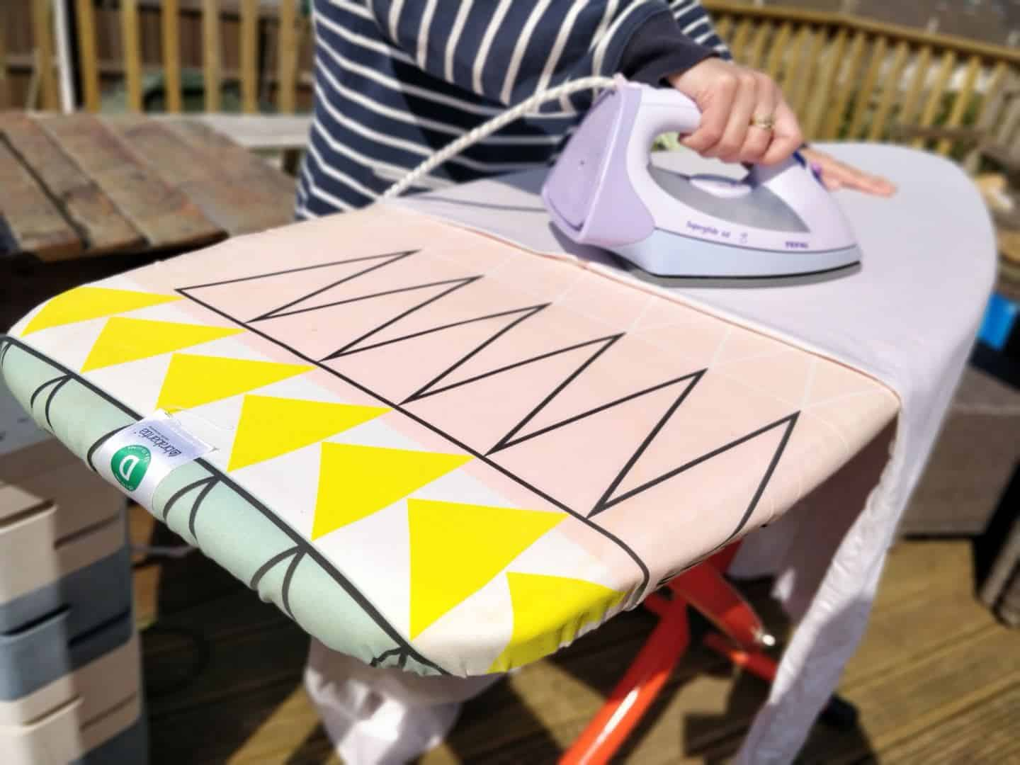 Al fresco activities include ironing on the deck with a Brabantia ironing board