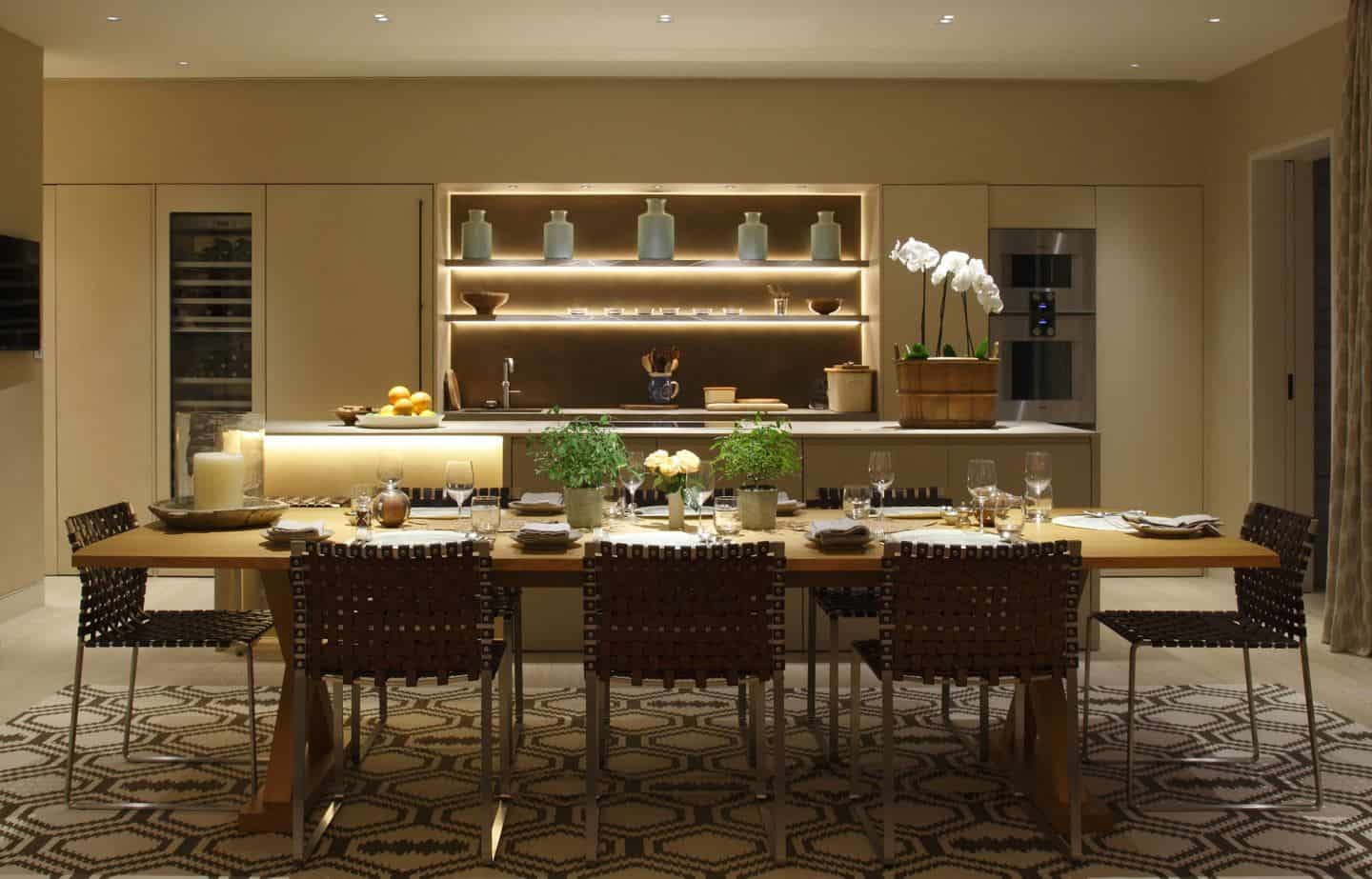Kitchen design trends - Linear LED lighting in a kitchen/dining room. Lighting by John Cullen Lighting