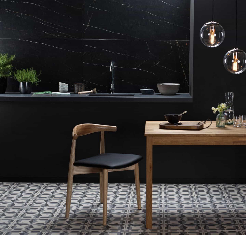 Kitchen design trends - large format tiles by Original Style - Nera Venato