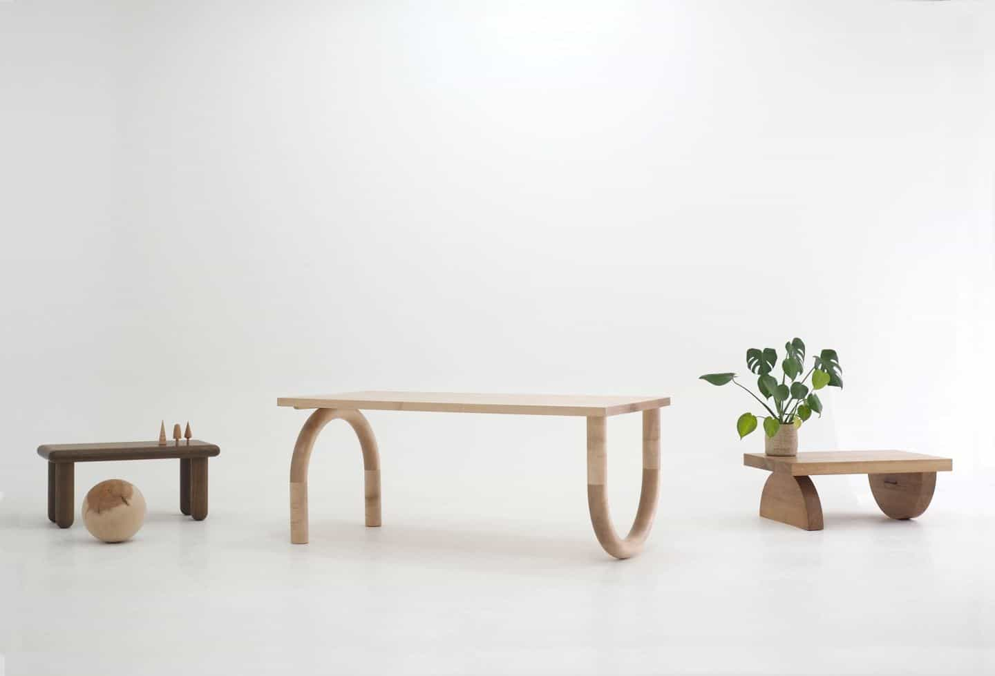 3 tables made by Forge Creative, an independent company that handcrafts custom wooden furniture and home accessories.