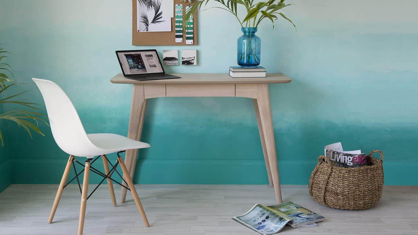 Space-saving desks. Scandi Natural Oak Desk from Danetti