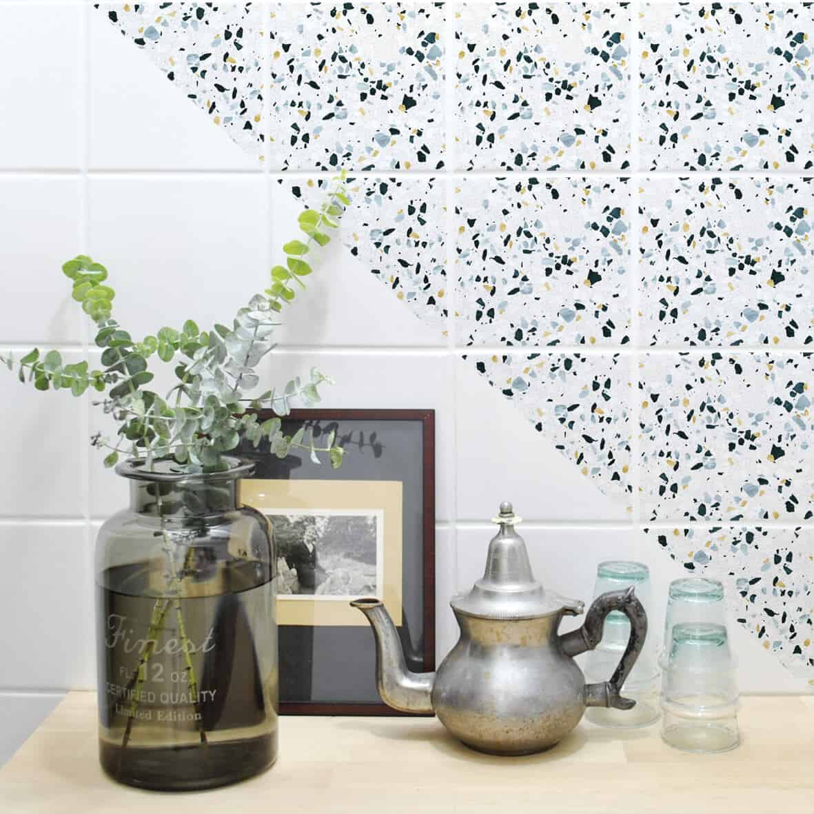 6 Easy Ways to Spruce Up Your Kitchen on a Budget - self-adhesive terrazzo tile stickers from Boubouki