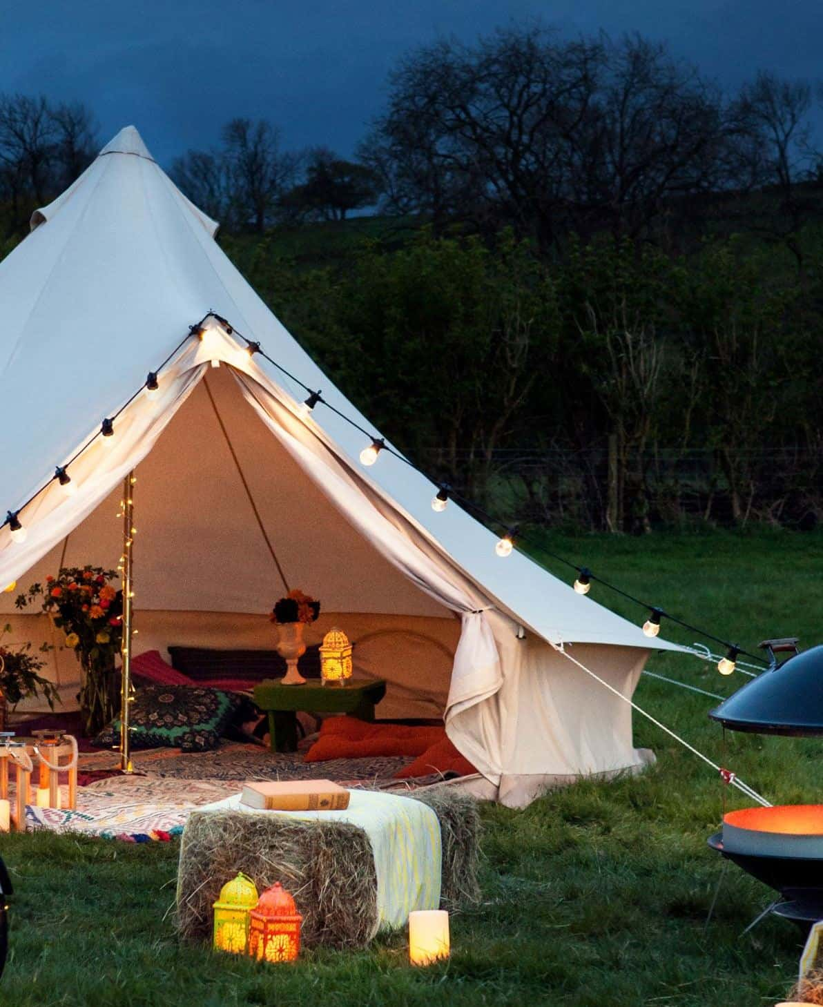 A bell tent to camp in is the perfect way to spend your summer staycation in your garden