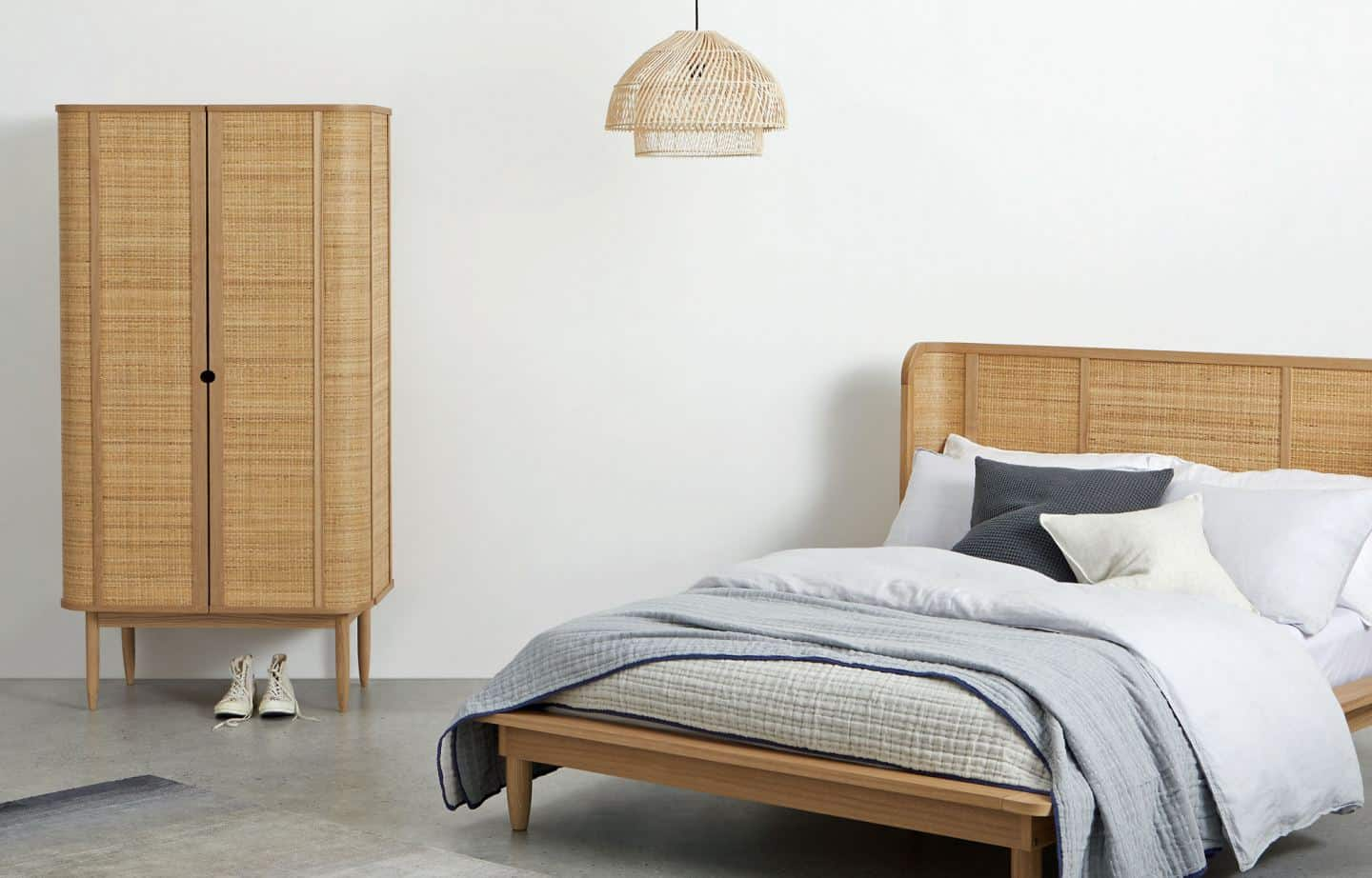 Rattan Interiors - The Liana Wardrobe Natural Cane And Ash from Made.com