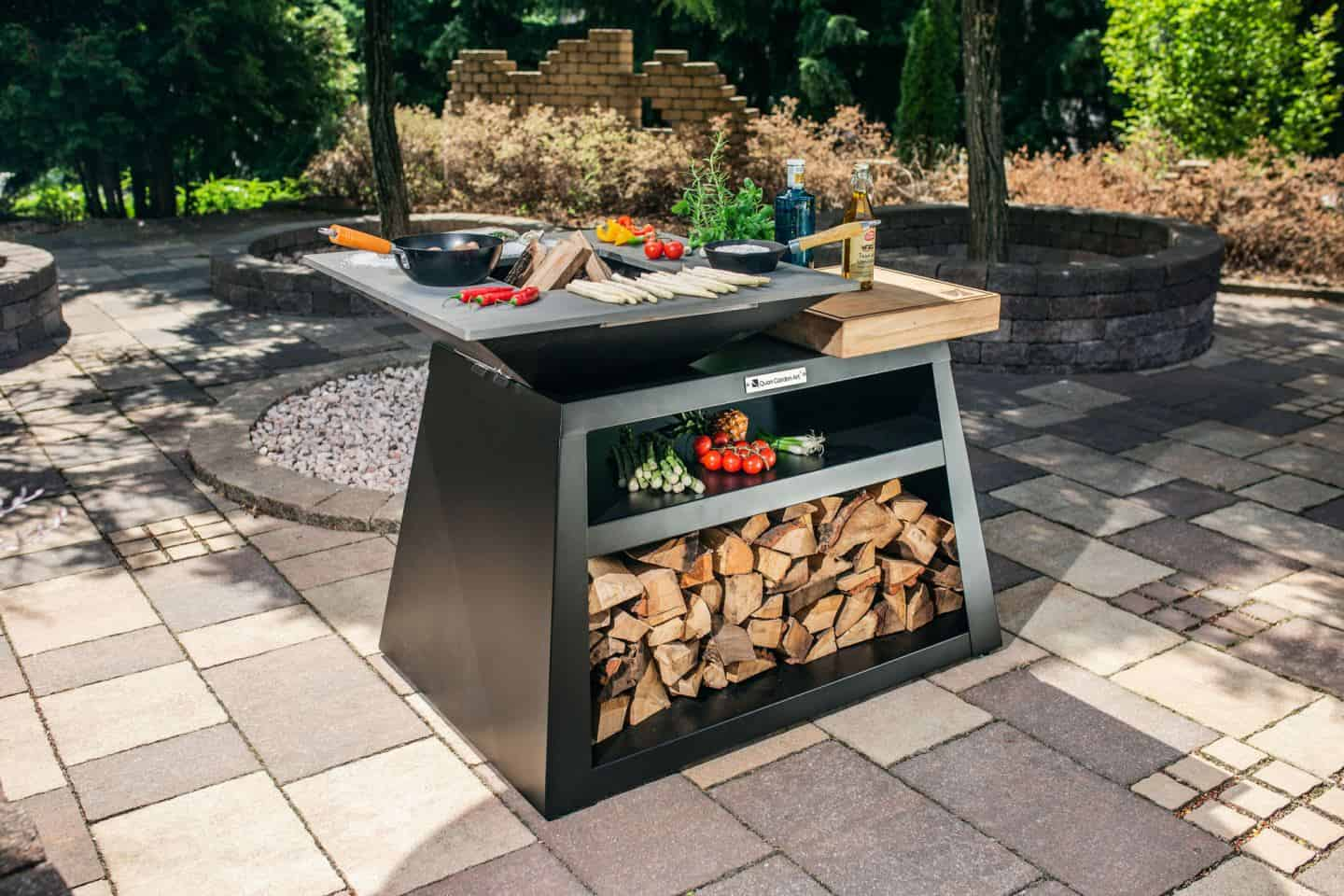 A wood-fired BBQ on the patio is a great way to entertain friends and family for a summer staycation in the garden