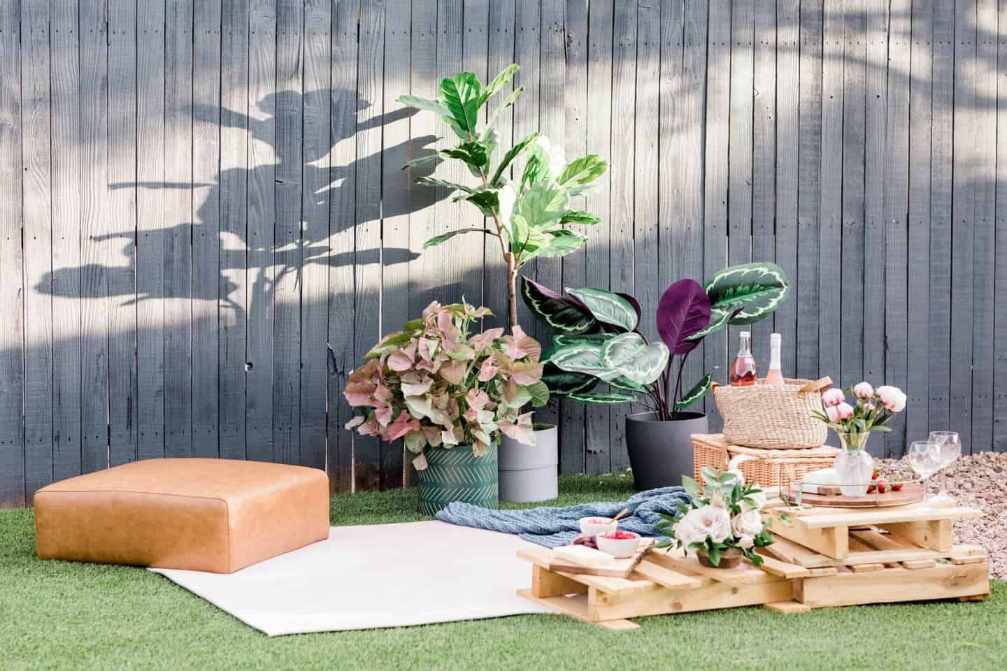 A rustic picnic is the perfect way to create holiday vibes for a summer staycation in your garden