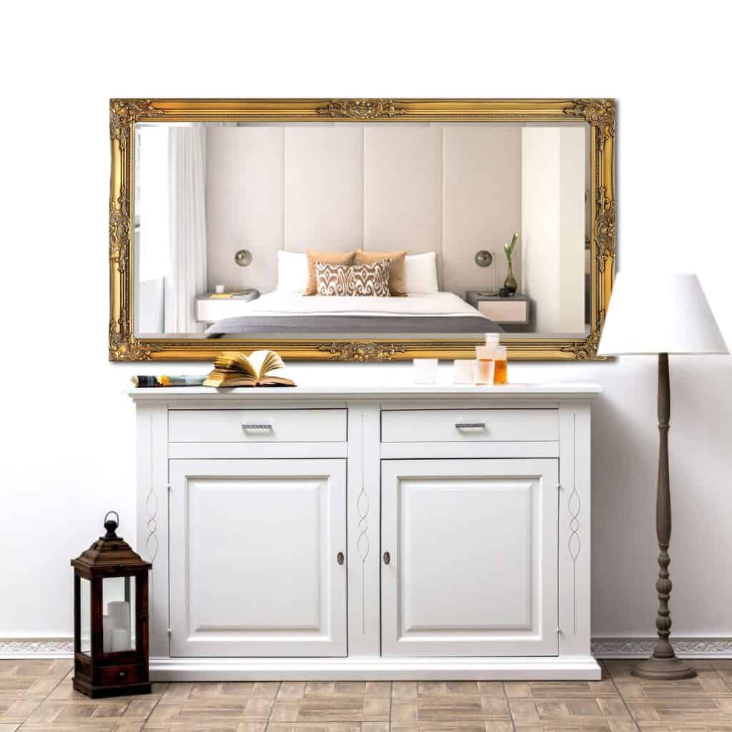 8 ways to use mirrors in your interiors. Gold Shabby Chic mirror from Casa Chic Boutique over a white sideboard