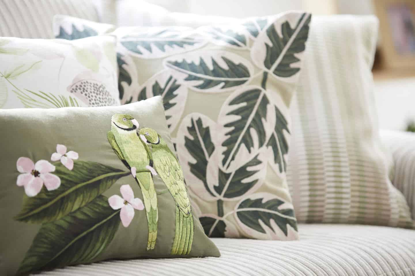 Sancturary is a SS20 interiors trend by Dunelm that features nature in interiors. These cushions feature lots of tactile textures,  and leafy green prints.