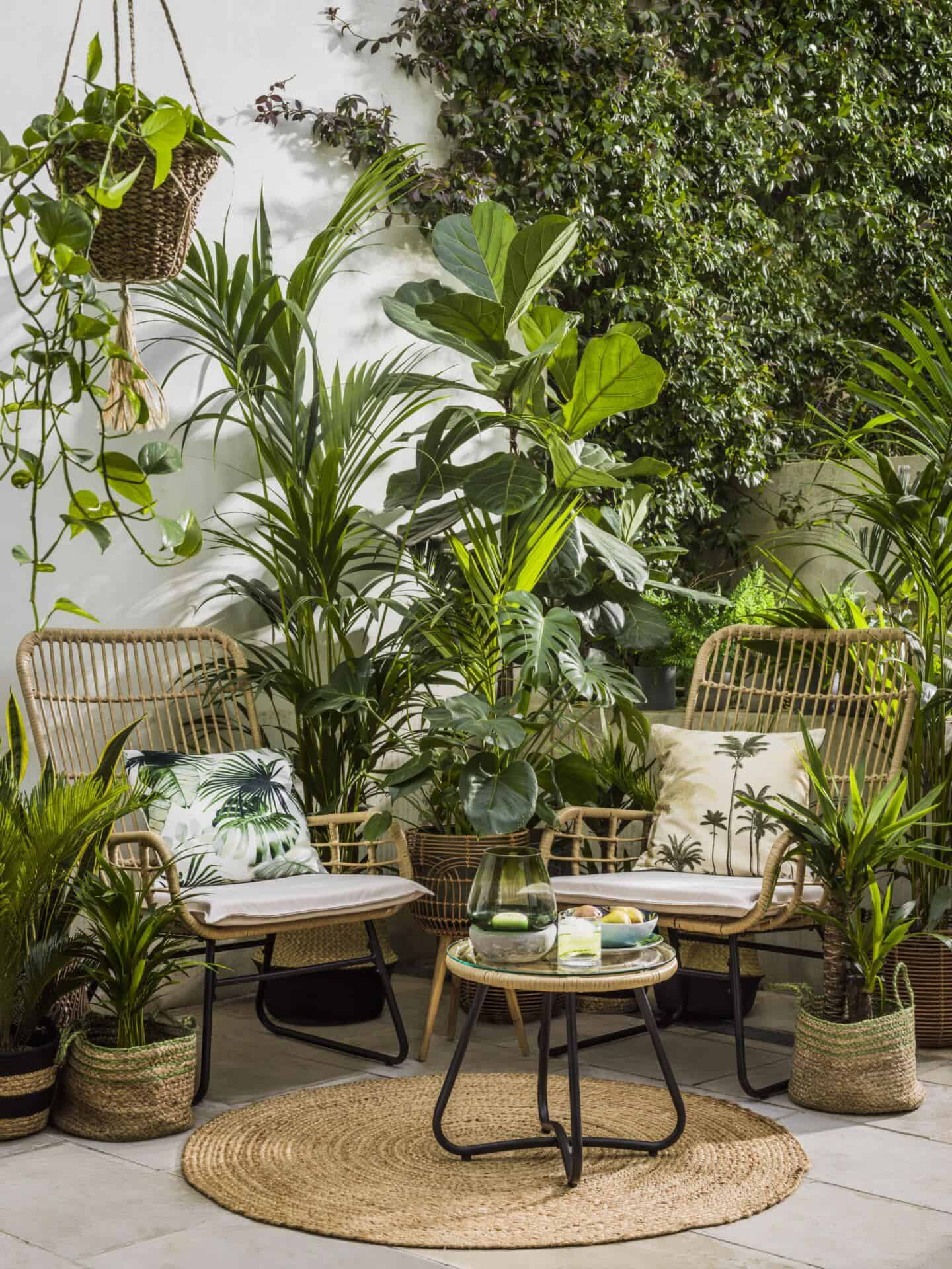 Botanist is a SS20 interiors trend by Very.co.uk that features nature in interiors. This small patio is full of furniture and accessories in natural materials and overflowing with leafy green plants