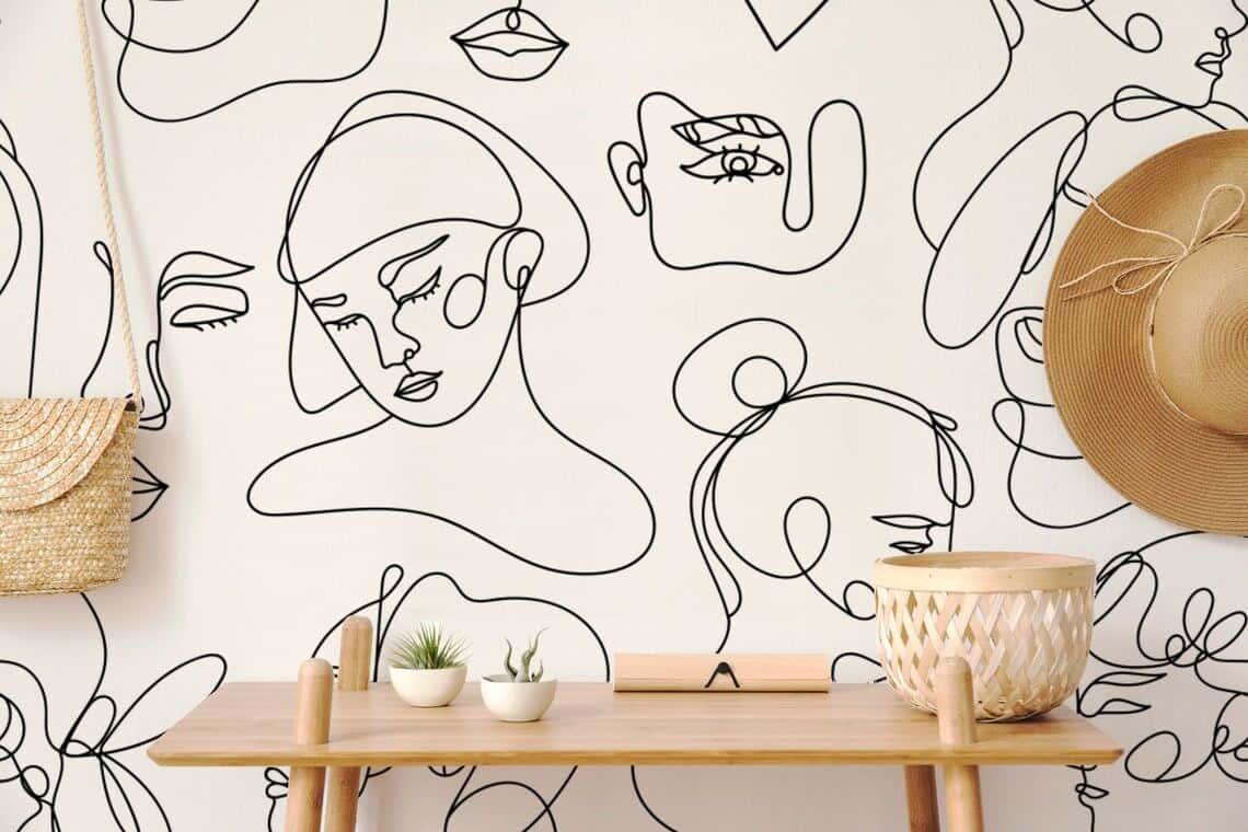 Wall mural from Wallartica featuring abstract faces.