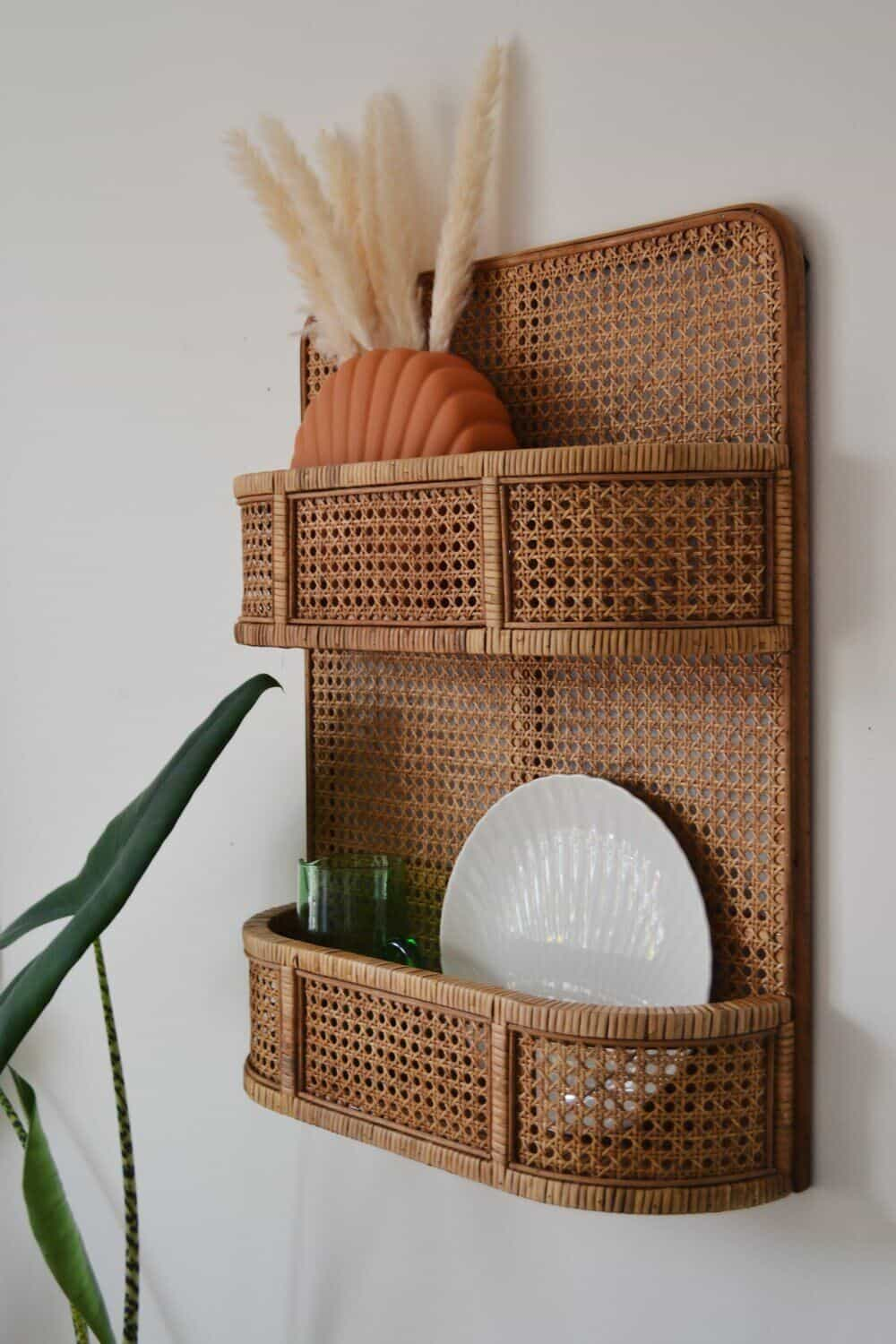 Rattan shelving unit from Spicer & Wood