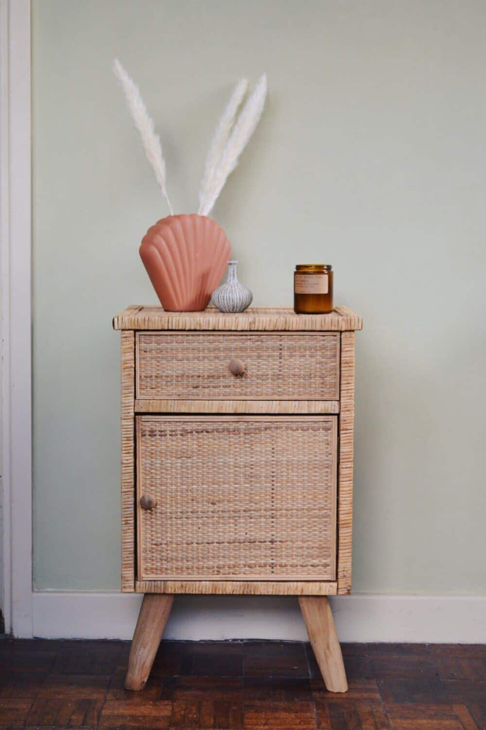 Rattan bedside table from Spicer & Wood
