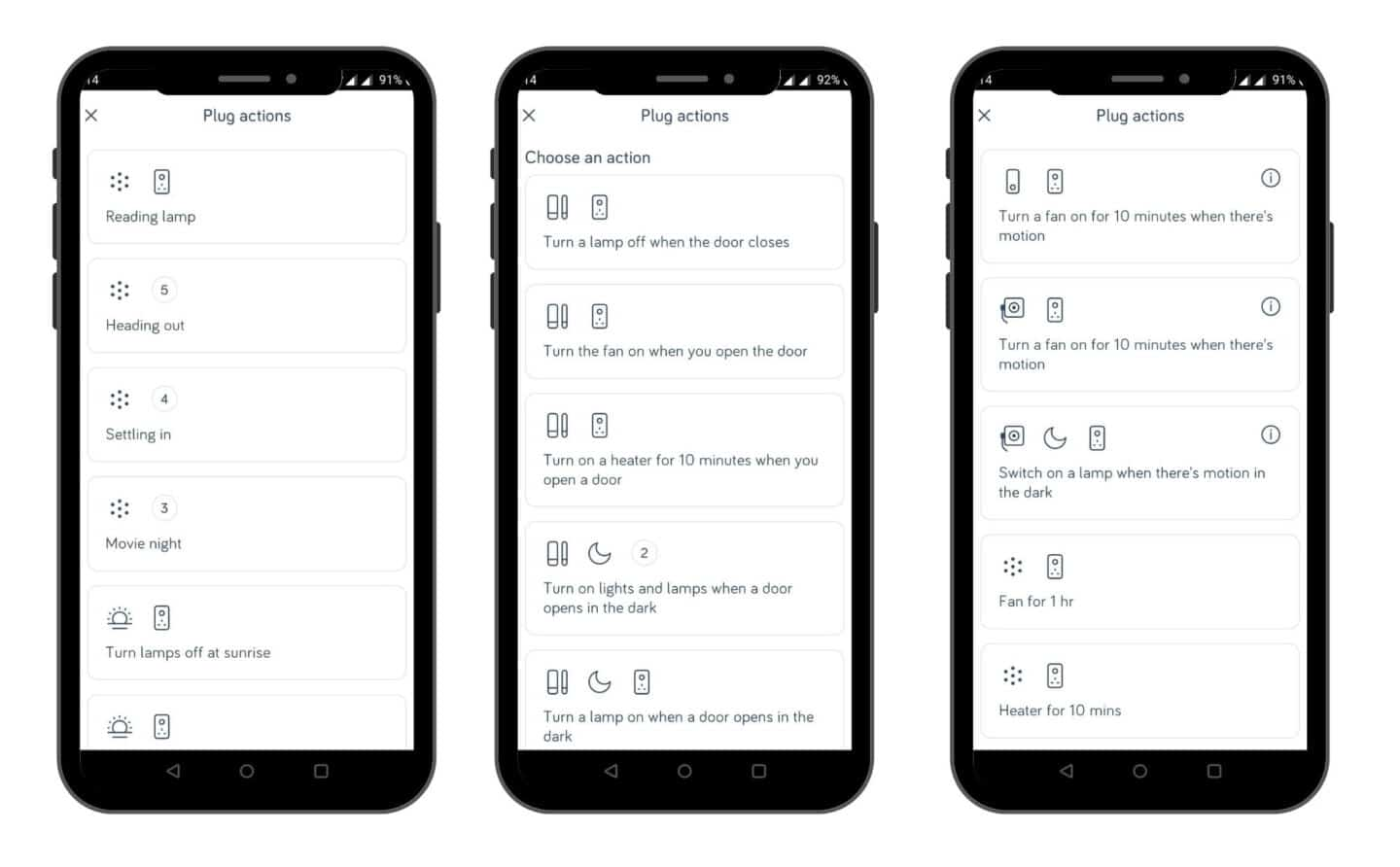 Screenshots of creating actions when using Hive smart devices
