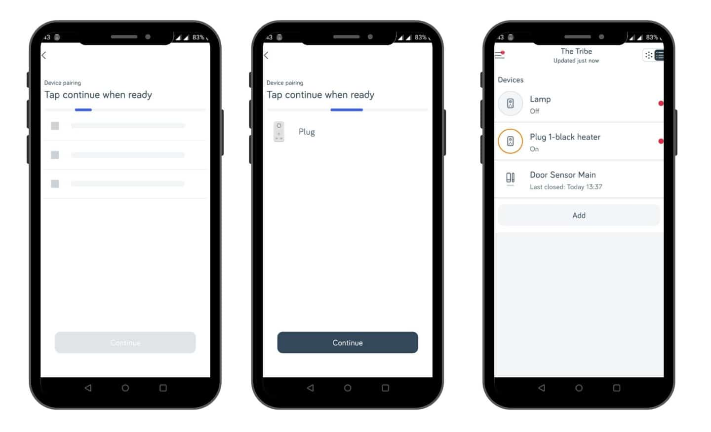 Screen shots of pairing Hive smart devices with the Hive Hub