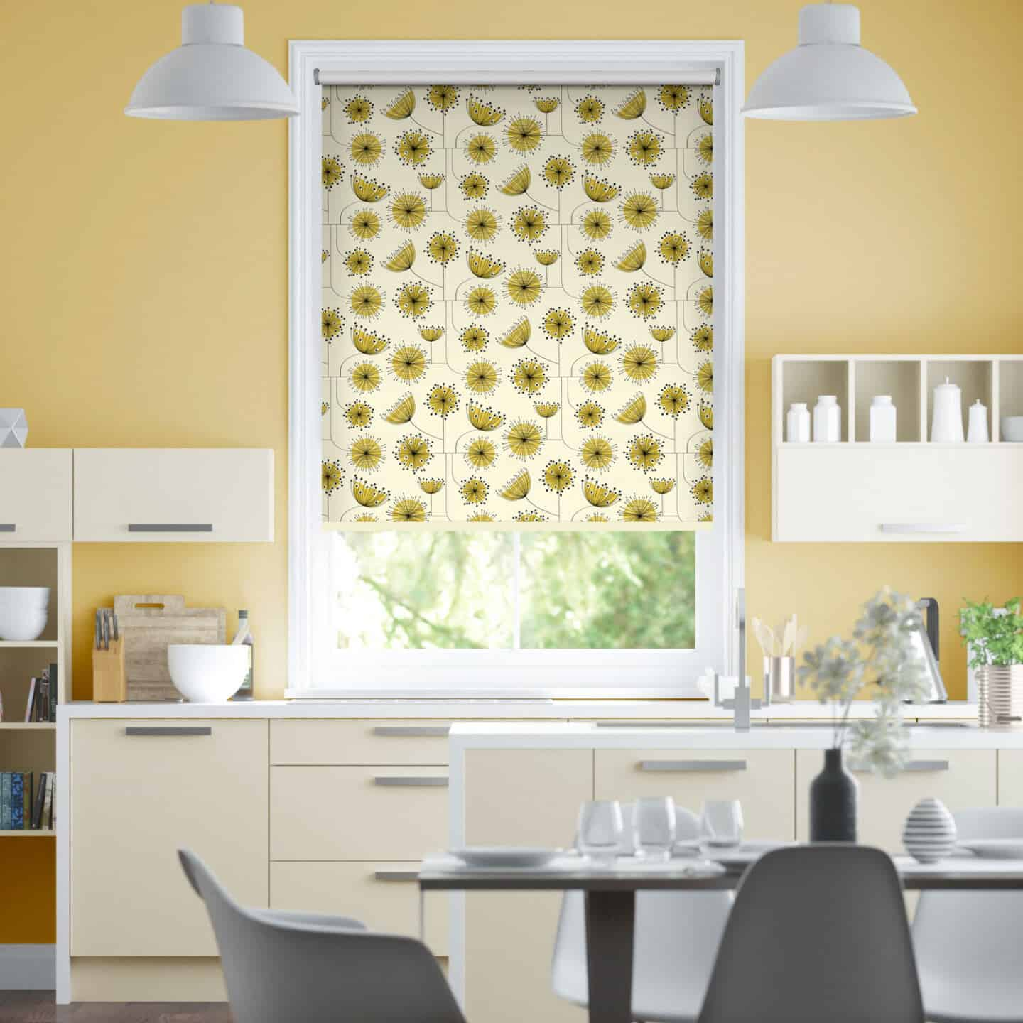 Pantone Colour of the Year 2021 - Illuminating. The colour psychology behind using yellow in interiors. A kitchen featuring yellow blinds from Blinds2Go