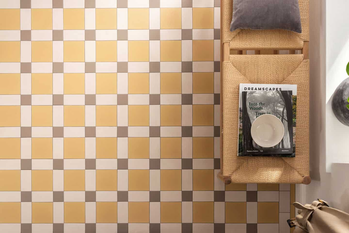 Pantone Colour of the Year 2021 - Illuminating. The colour psychology behind using yellow in interiors. Yellow and gret floor tiles from Original Style seen from above