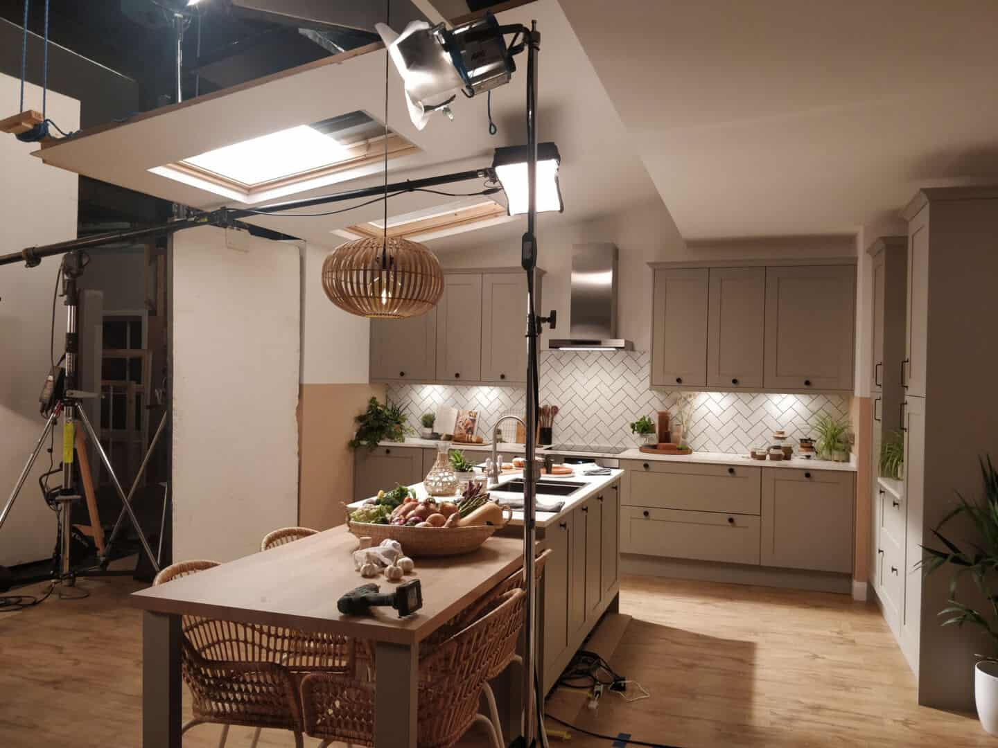 The set of Magnet's Tatton Kitchen in Pebble ready for filming.