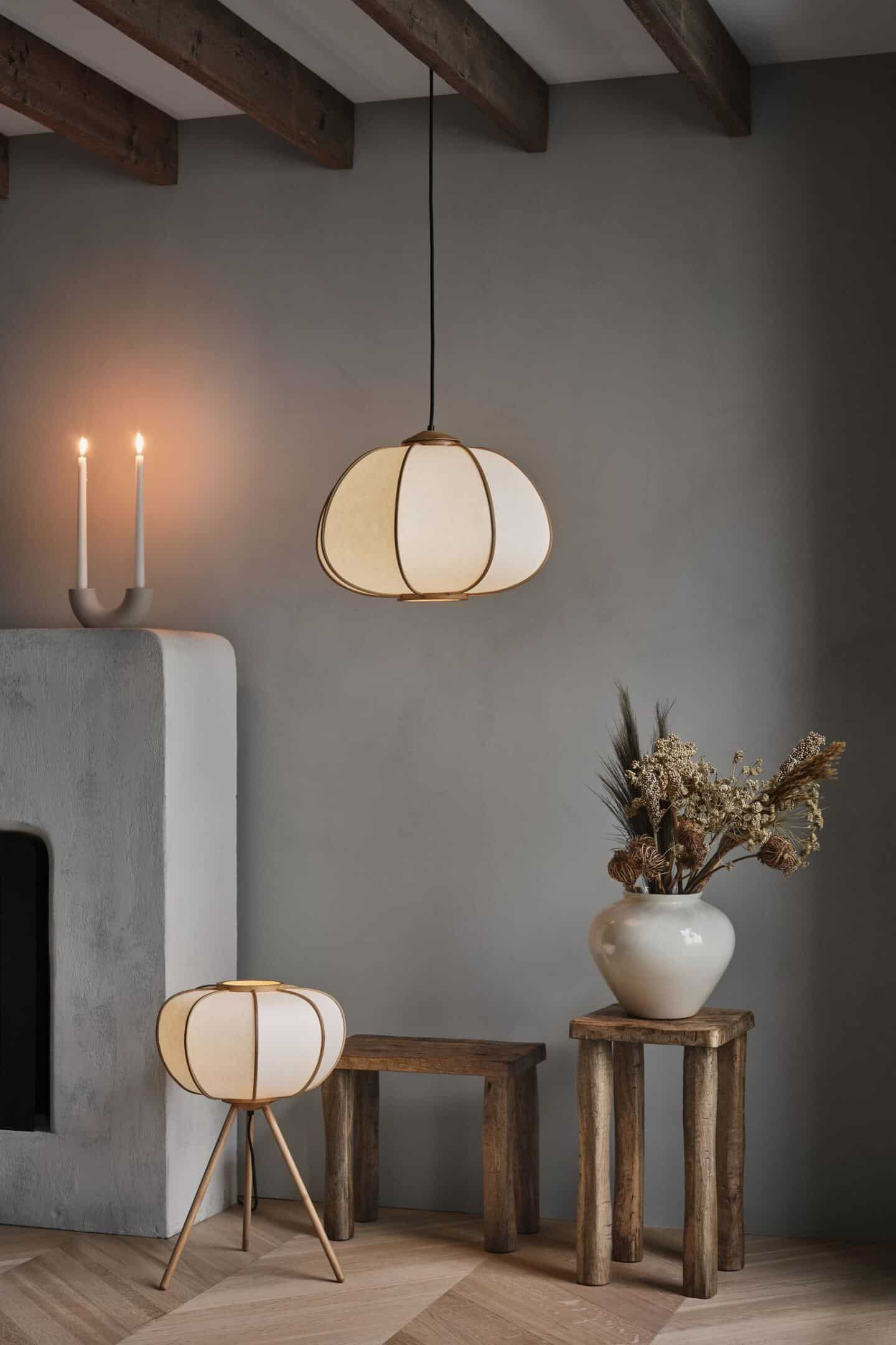 BAmboo floor lamo and pendant light from H&M Home