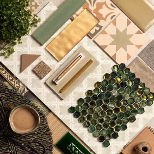 Interiors Trends for 2021 - Home Hub - Original Style Mood Board showing green and brown tiles, pencil,scissors and a mug of coffee