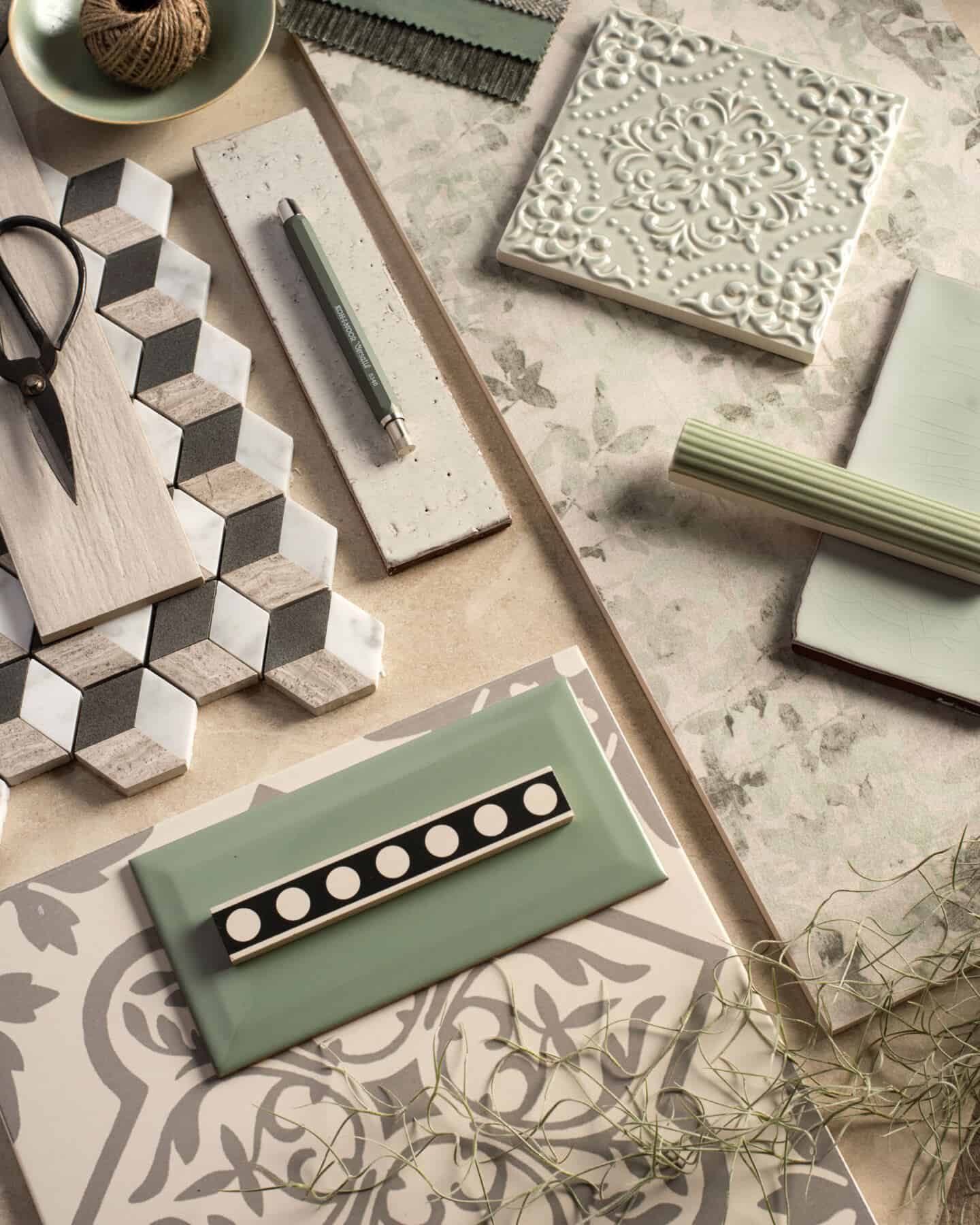 Interiors Trends for 2021 - Home Hub - Original Style Mood Board showing green tiles, pencil,scissors and string