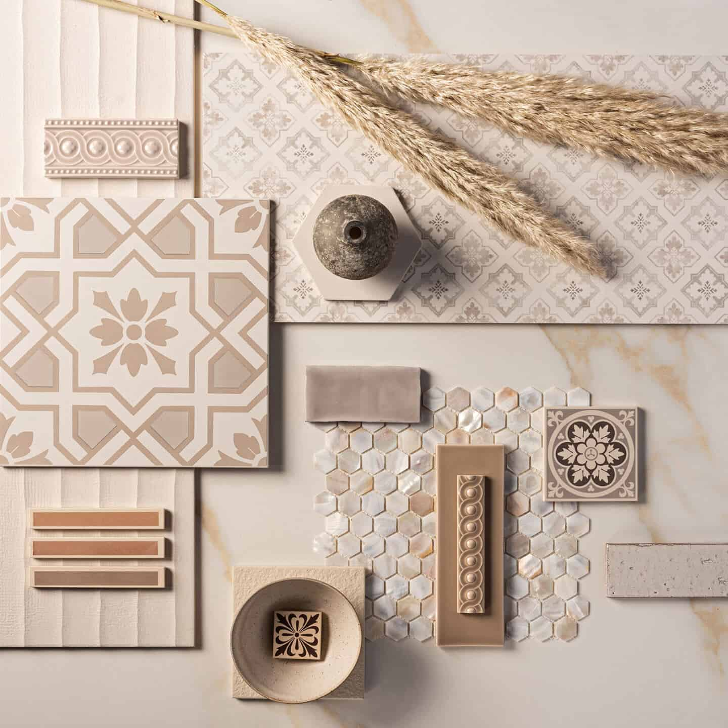 Interiors Trends for 2021- Sanctuary - Original Style Mood Board showing beige tiles, a small textured vase and some pampas grass