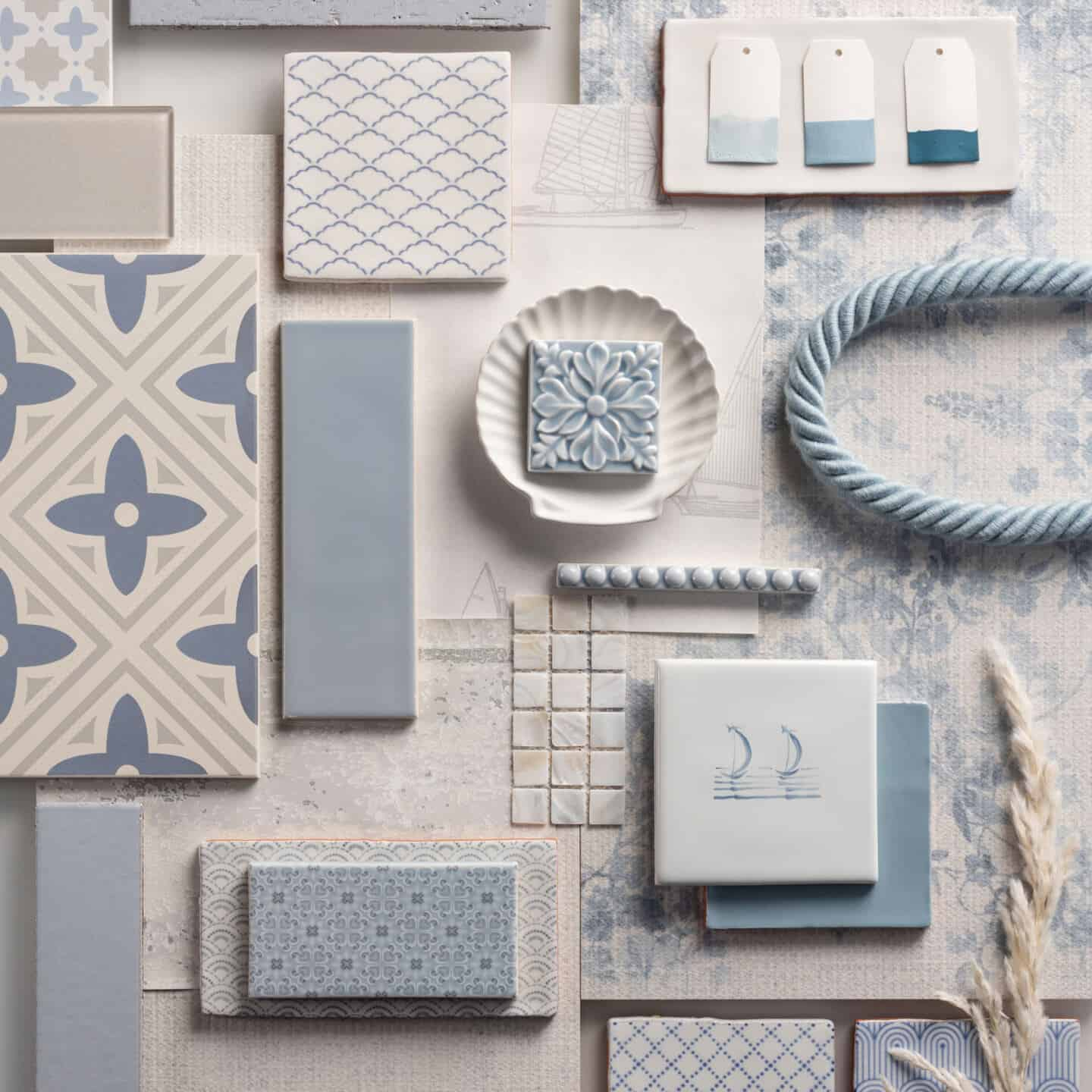Interiors Trends for 2021- Staycation - Original Style Mood Board showing blue and white tiles, a ceramic scallop shell and some blue rope